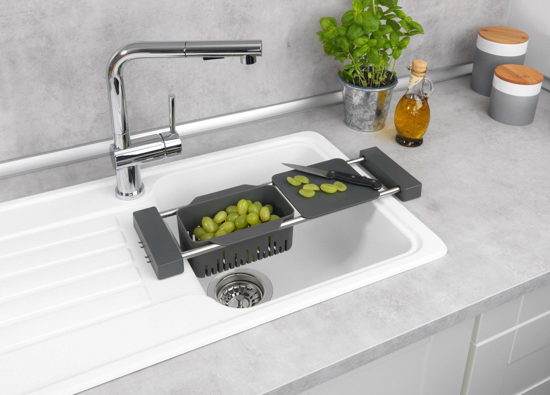 Vaschetta portaoggetti per lavello Cami per lavello grigio L 77.5 x P 14 x H 8 cm - 3