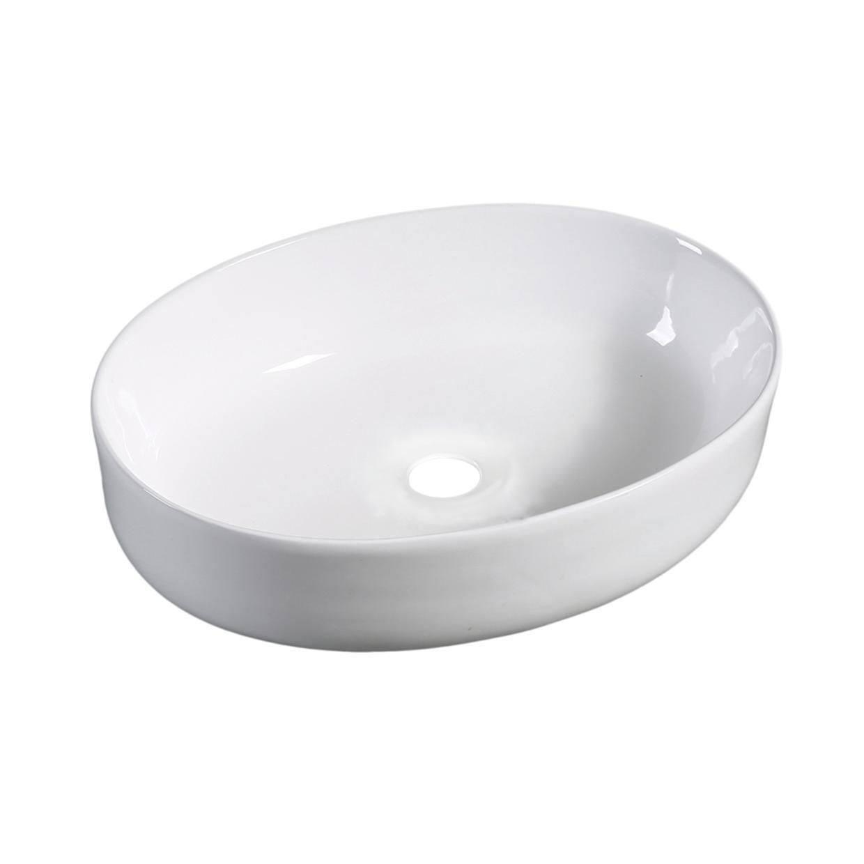 Lavabo da appoggio ovale Spadafora in ceramica L 51.5 x P 38 x H 15 cm bianco - 1