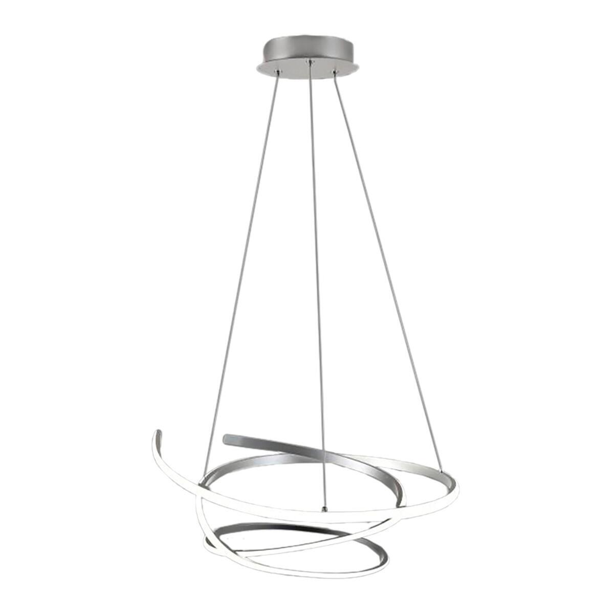 Lampadario Moderno KILEY LED integrato silver, in alluminio, L. 54 cm - 4