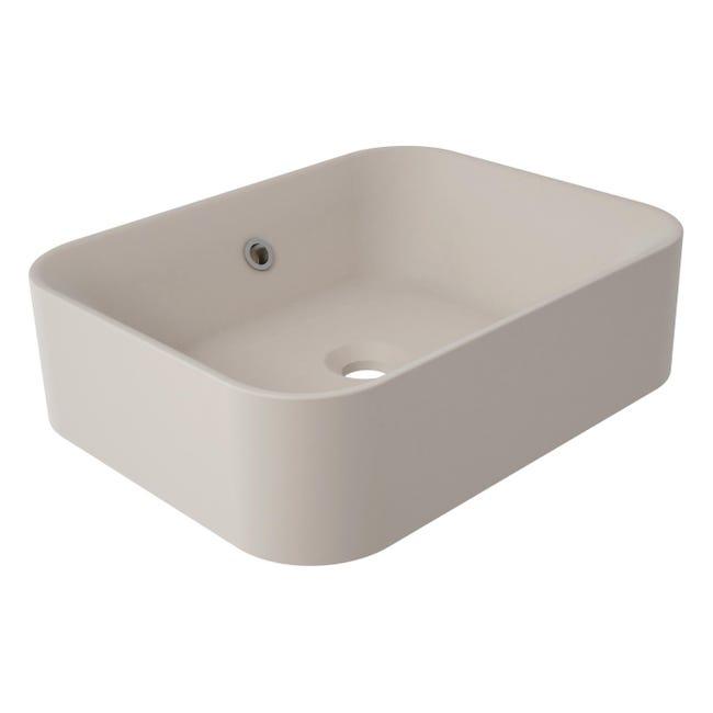Lavabo da appoggio rettangolare Capsule in resina L 48 x P 38 x H 38 cm beige e naturale - 1