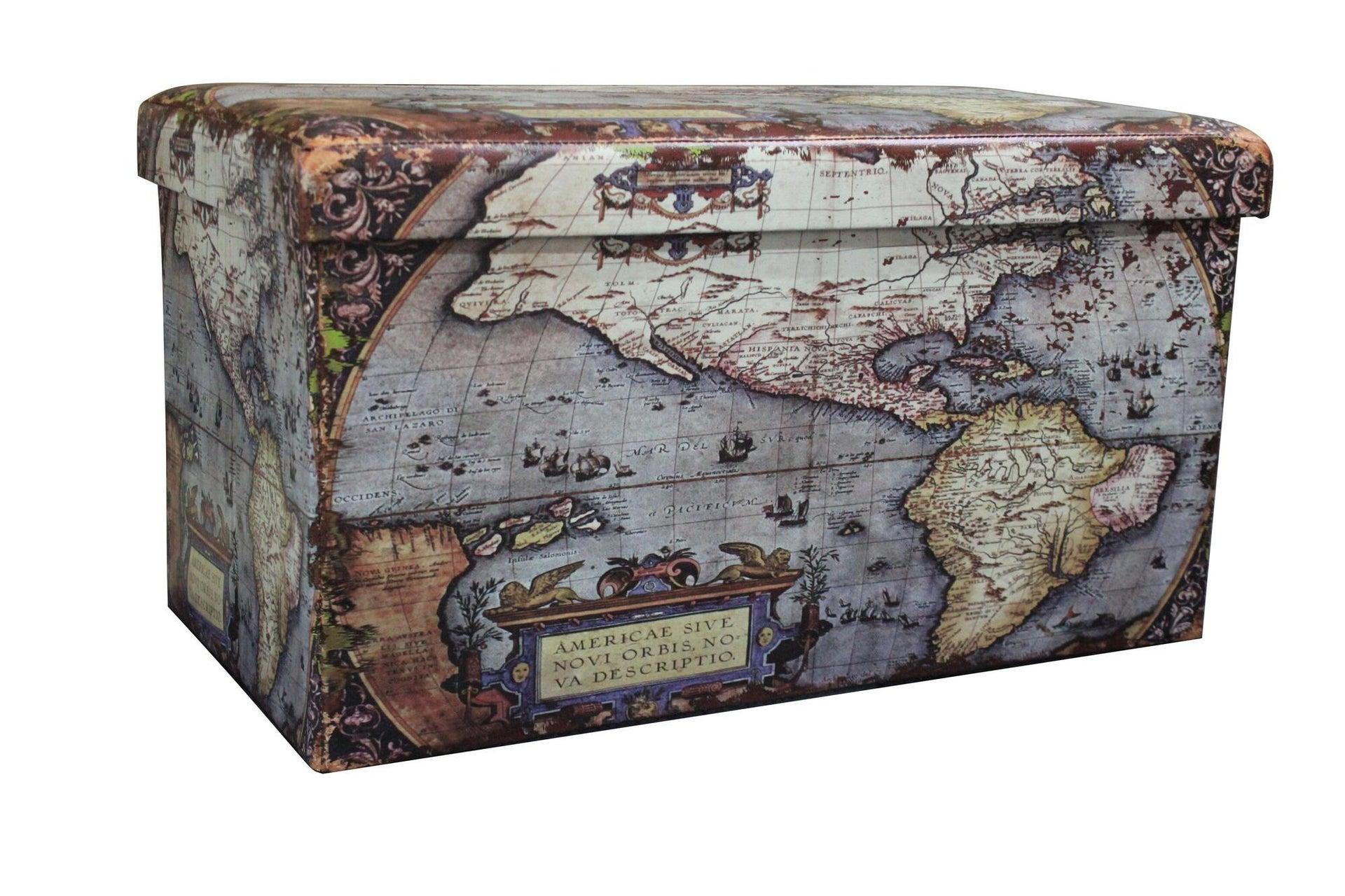 Baule Map L 76 x H 6 x P 40 cm Multicolore