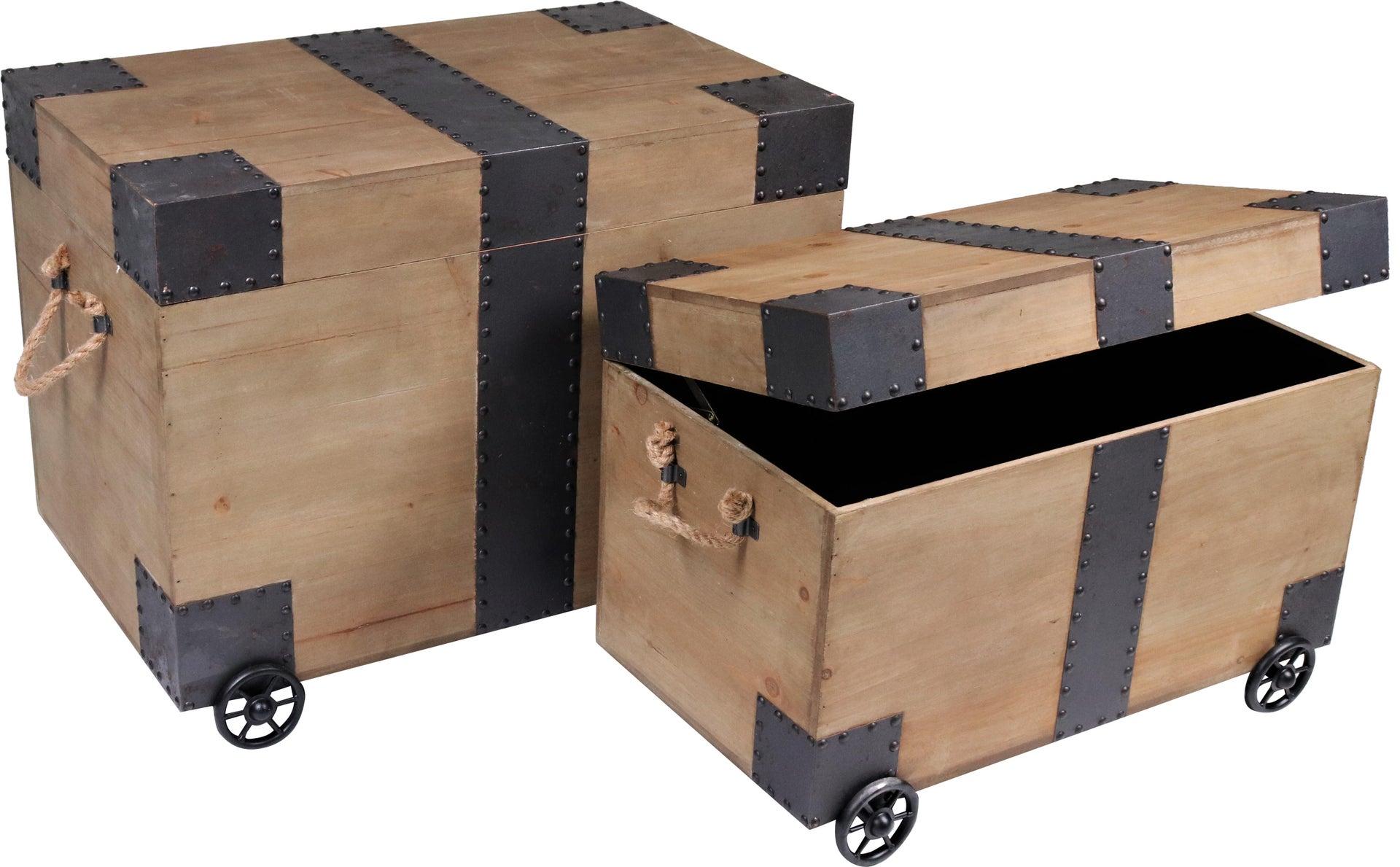 Set di 2 pezzi, Baule Rustic L 64 x H 42 x P 50 cm Beige