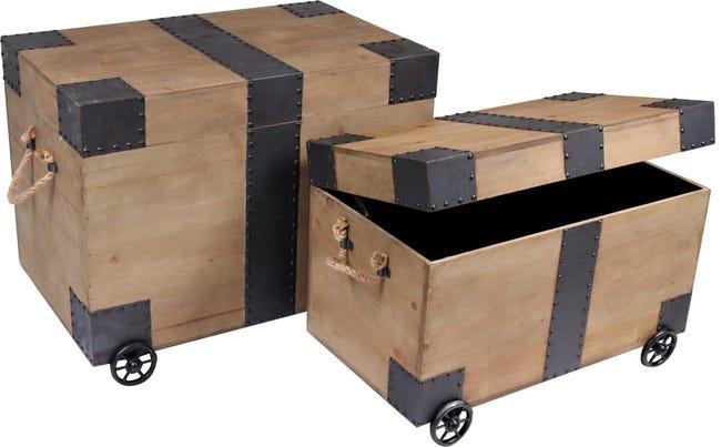 Set di 2 pezzi, Baule Rustic L 64 x H 42 x P 50 cm Beige - 1