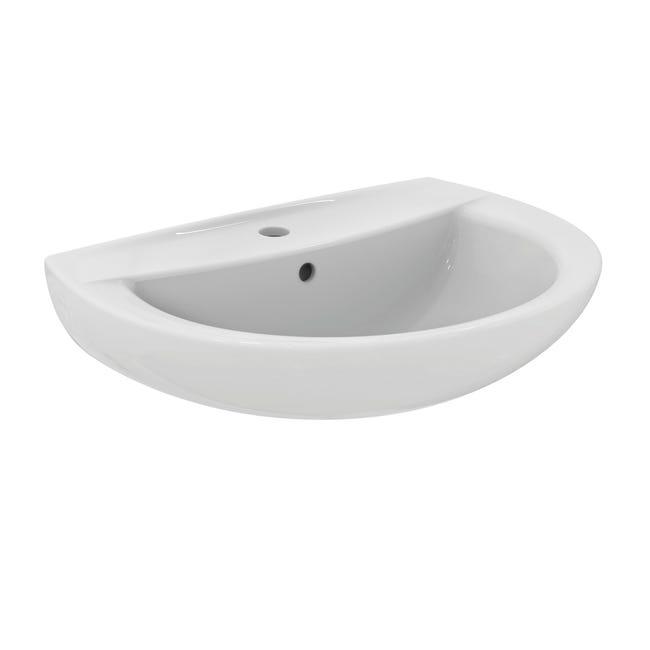 Lavabo sospeso stondato Idyl L 60 x H 19 x P 47 cm in ceramica bianco - 1