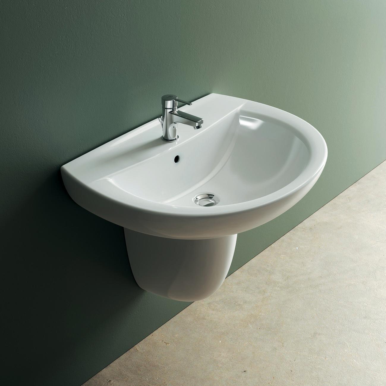 Lavabo sospeso stondato Idyl L 60 x H 19 x P 47 cm in ceramica bianco - 2