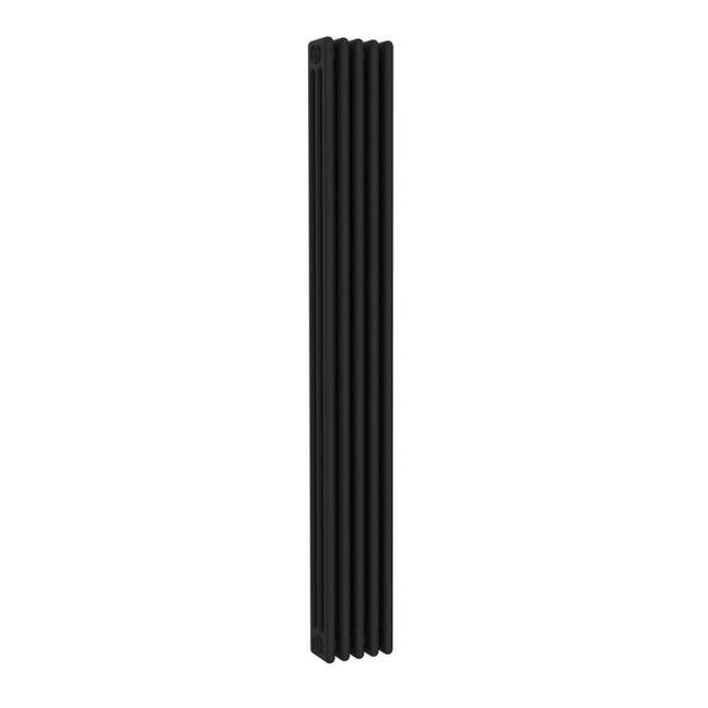 Radiatore acqua calda ERCOS nero opaco in acciaio 5 elementi interasse 193,5 cm - 1