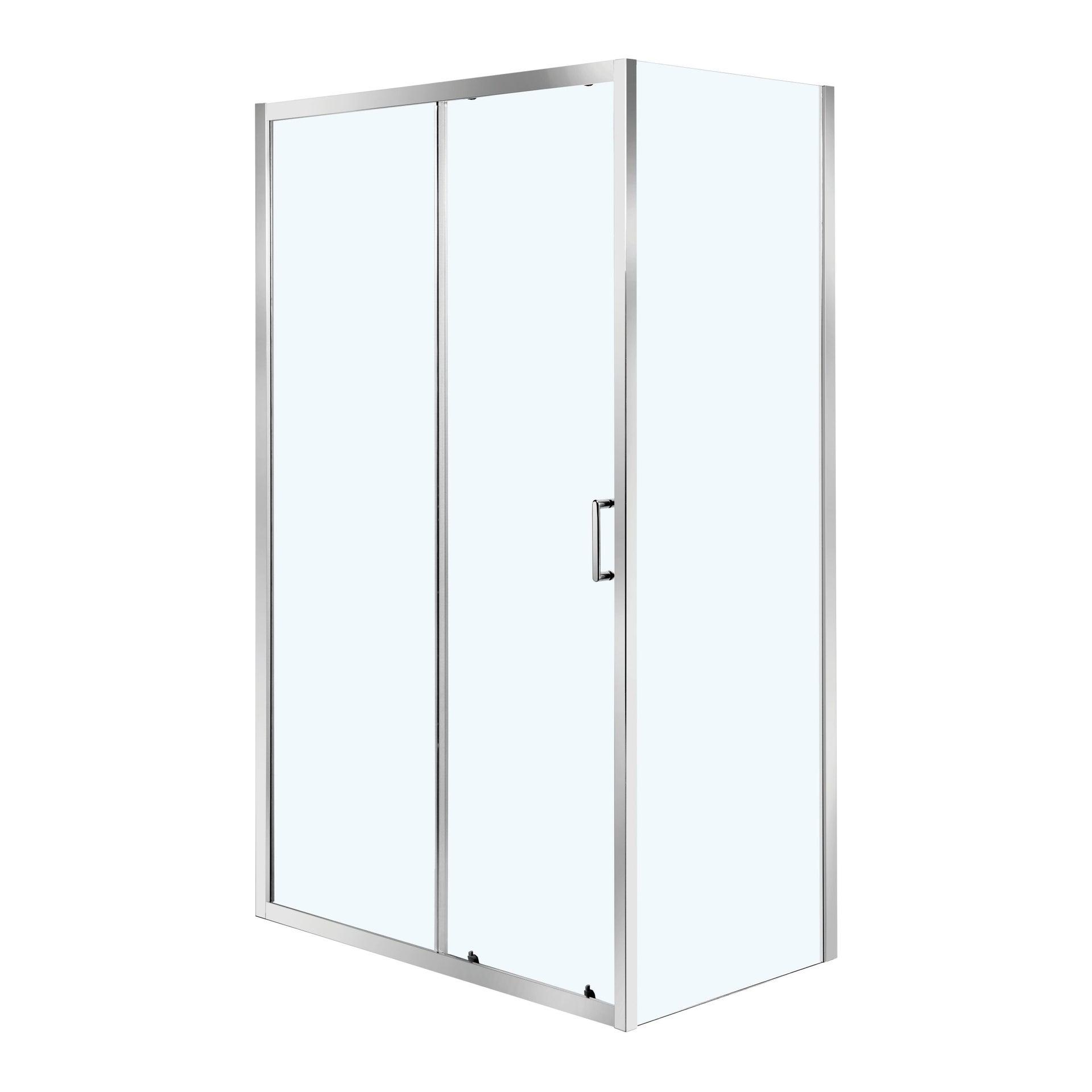 Porta doccia 1 anta fissa + 1 anta scorrevole ZESC 120 cm, H 190 cm in vetro temprato, spessore 6 mm trasparente cromato - 2