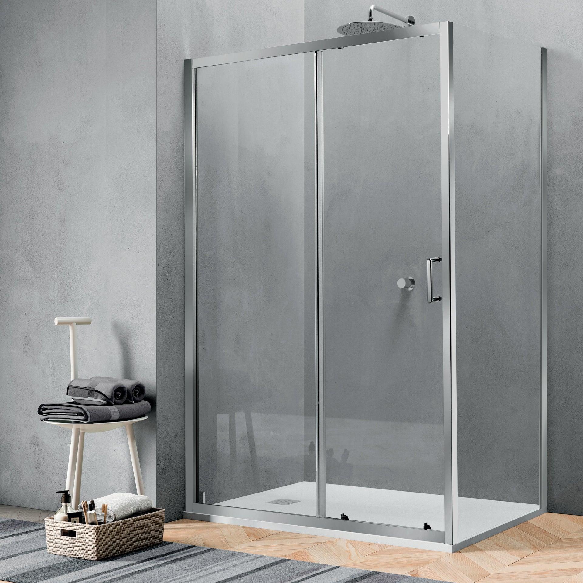 Porta doccia 1 anta fissa + 1 anta scorrevole ZESC 120 cm, H 190 cm in vetro temprato, spessore 6 mm trasparente cromato - 3