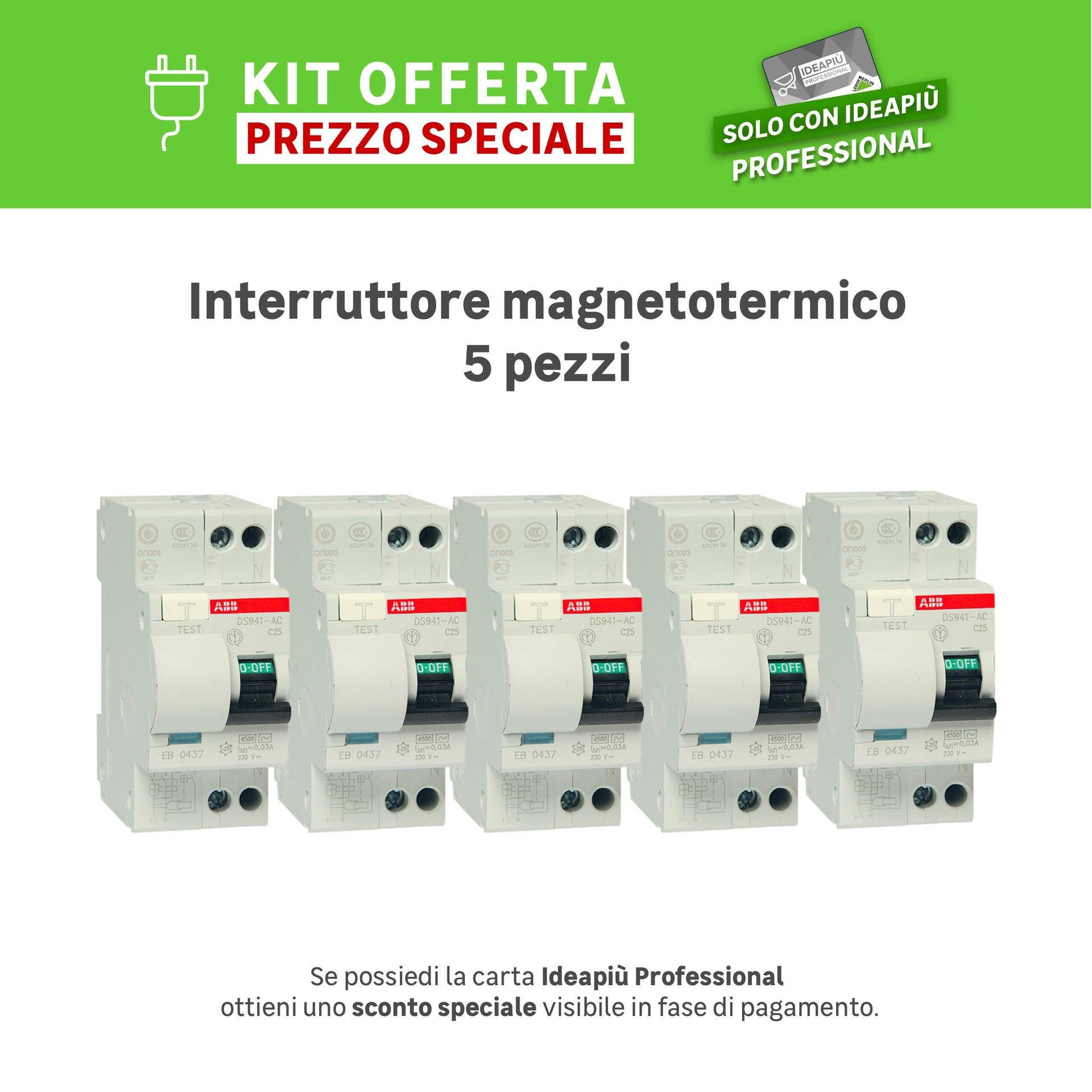 Kit Interruttore magnetotermico differenziale ABB DS 901 1 polo 25A 4.5kA 30mA AC 2 moduli 230V, 5 pezzi - 1
