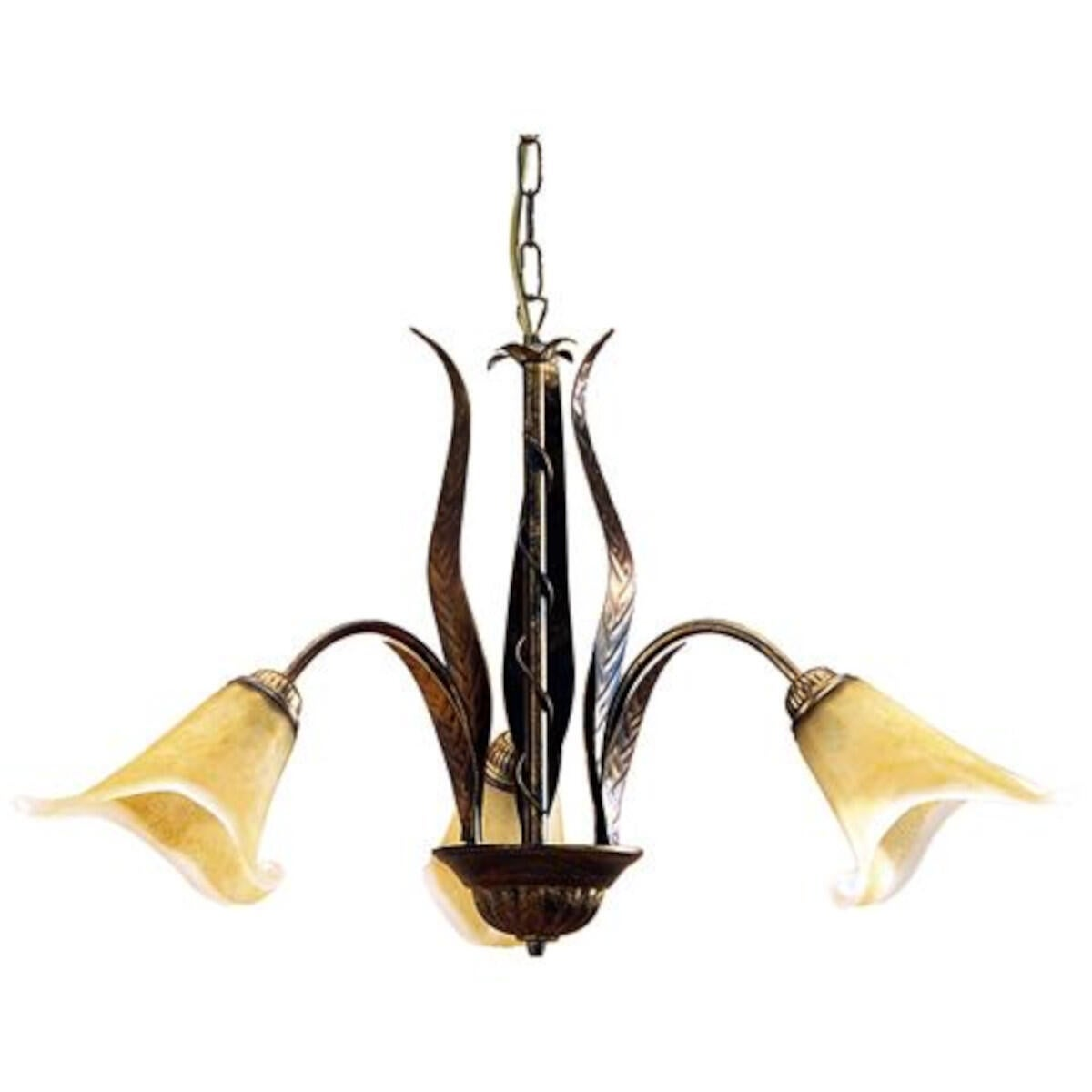 Lampadario Rustico Alga bronzo in ferro, L. 65 cm, 3 luci