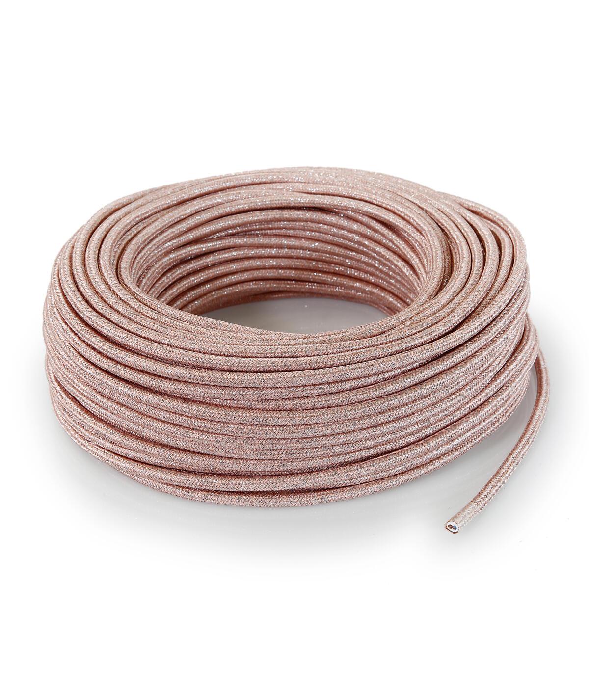 Cavo elettrico lamè rosa H03VV-F 2 fili x 0.75 mm² 50 m MERLOTTI Matassa