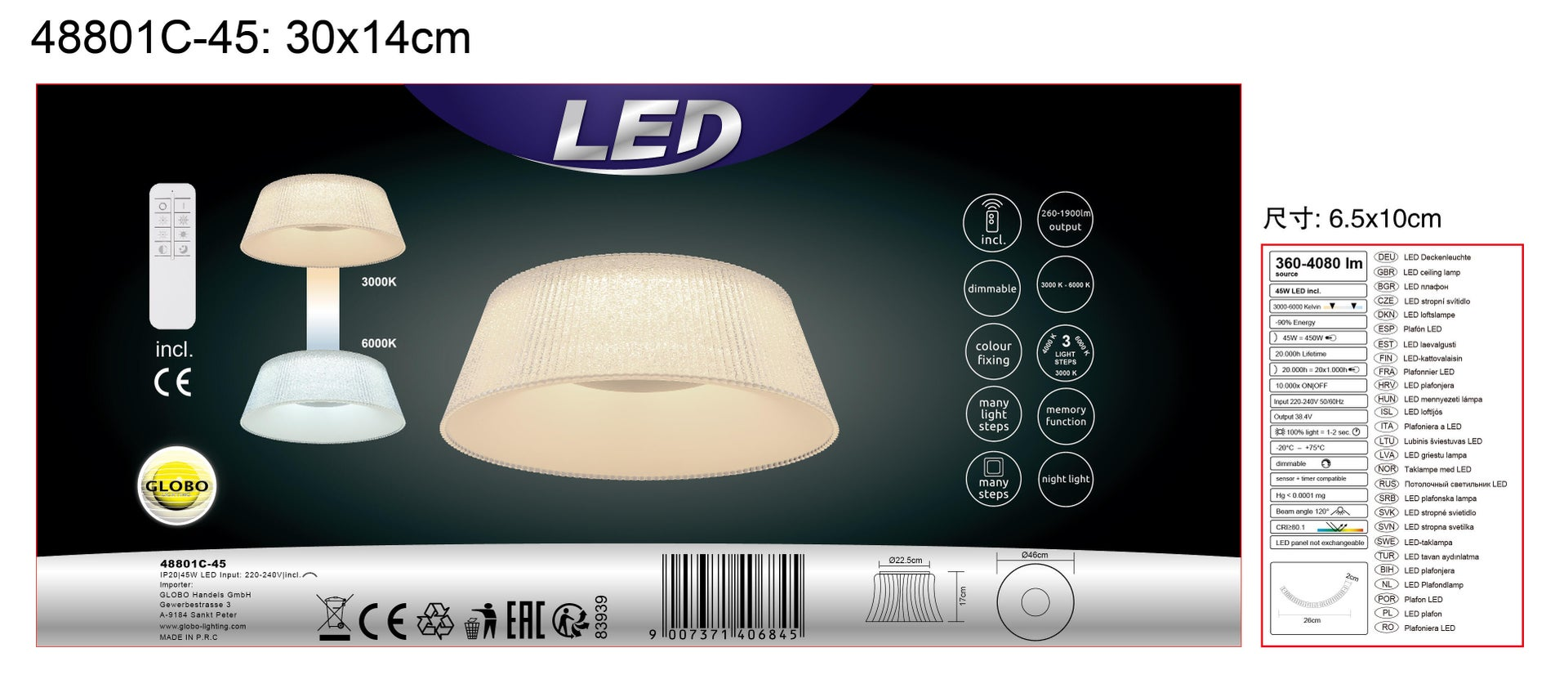 Plafoniera Crotone LED integrato trasparente, in acrilico, - 2