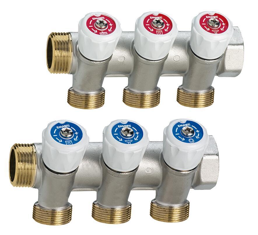Collettore con rubinetto 1pz/ adesivi identificativi caldo/freddo Maschio Ø 3/4