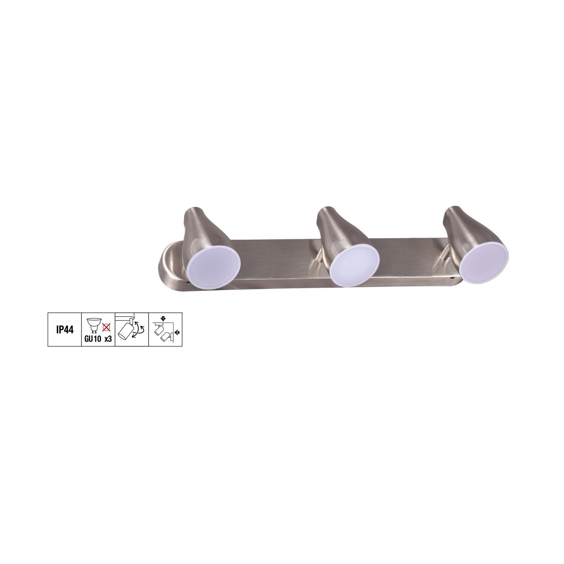 Barra di faretti Bar con 3 faretti cromo, in plastica, GU10 3xIP44 - 8