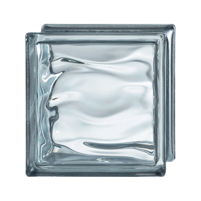 Vetromattone BORMIOLI grigio ondulato H 19 x L 19 x Sp 8 cm - 1
