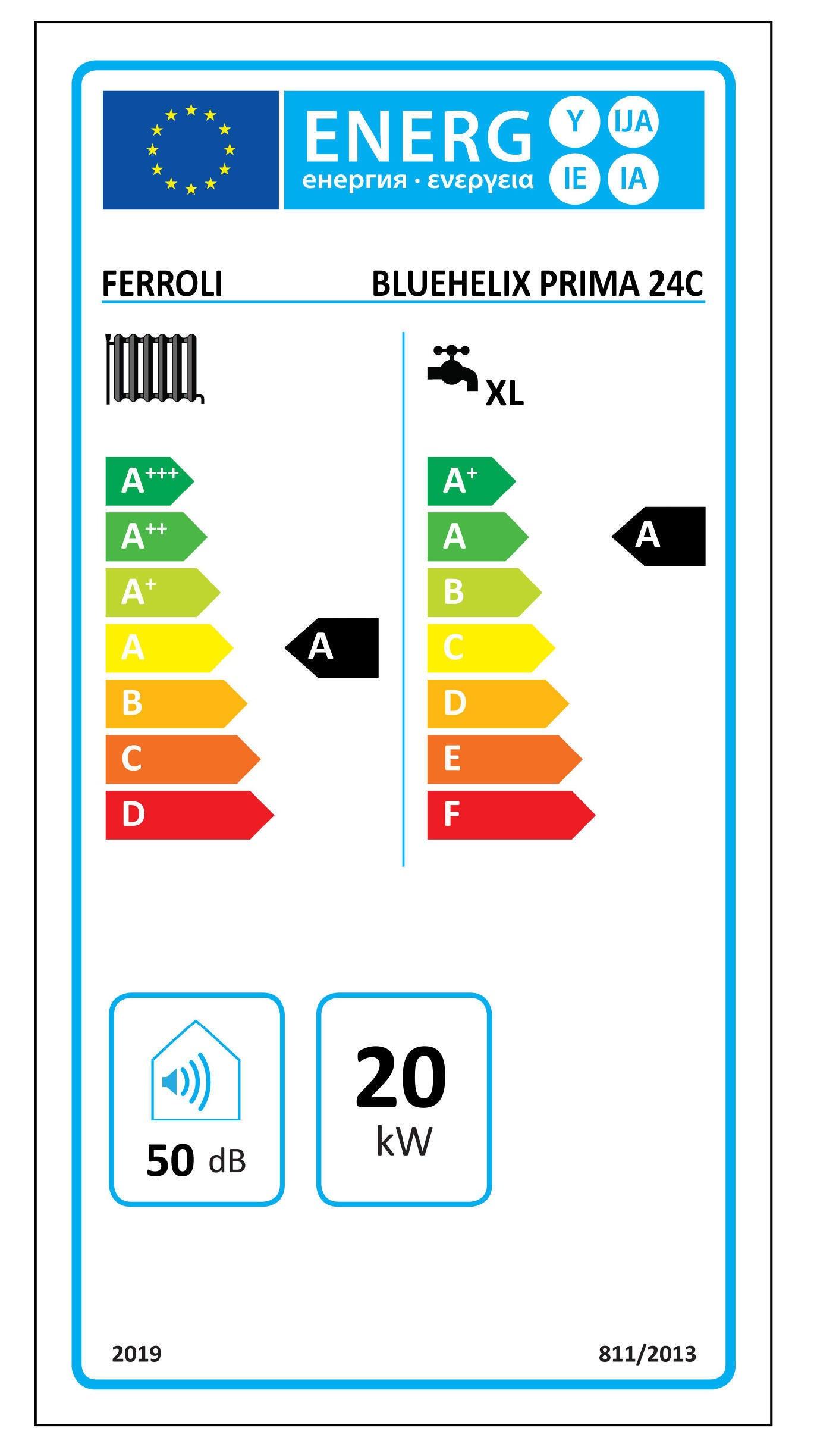 Caldaia a gas Metano a condensazione 22.9 Kw FERROLI Blu Helix Prima Istantanea - 2