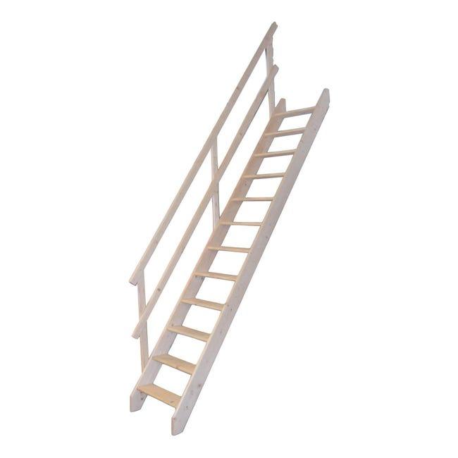 Scala a rampa dritto Mugnaio L 60 cm, gradino grezzo, struttura abete naturale - 1