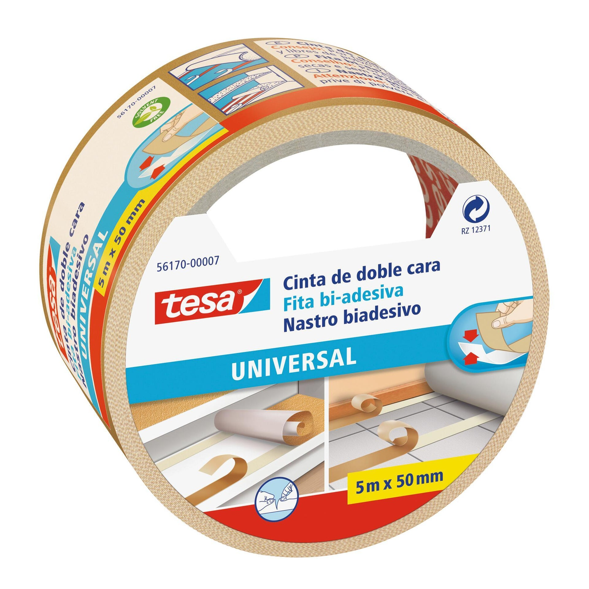 Nastro bi-adesivo TESA TAPE Biadesivo universale filmico 5 m x 50 mm bianco - 8