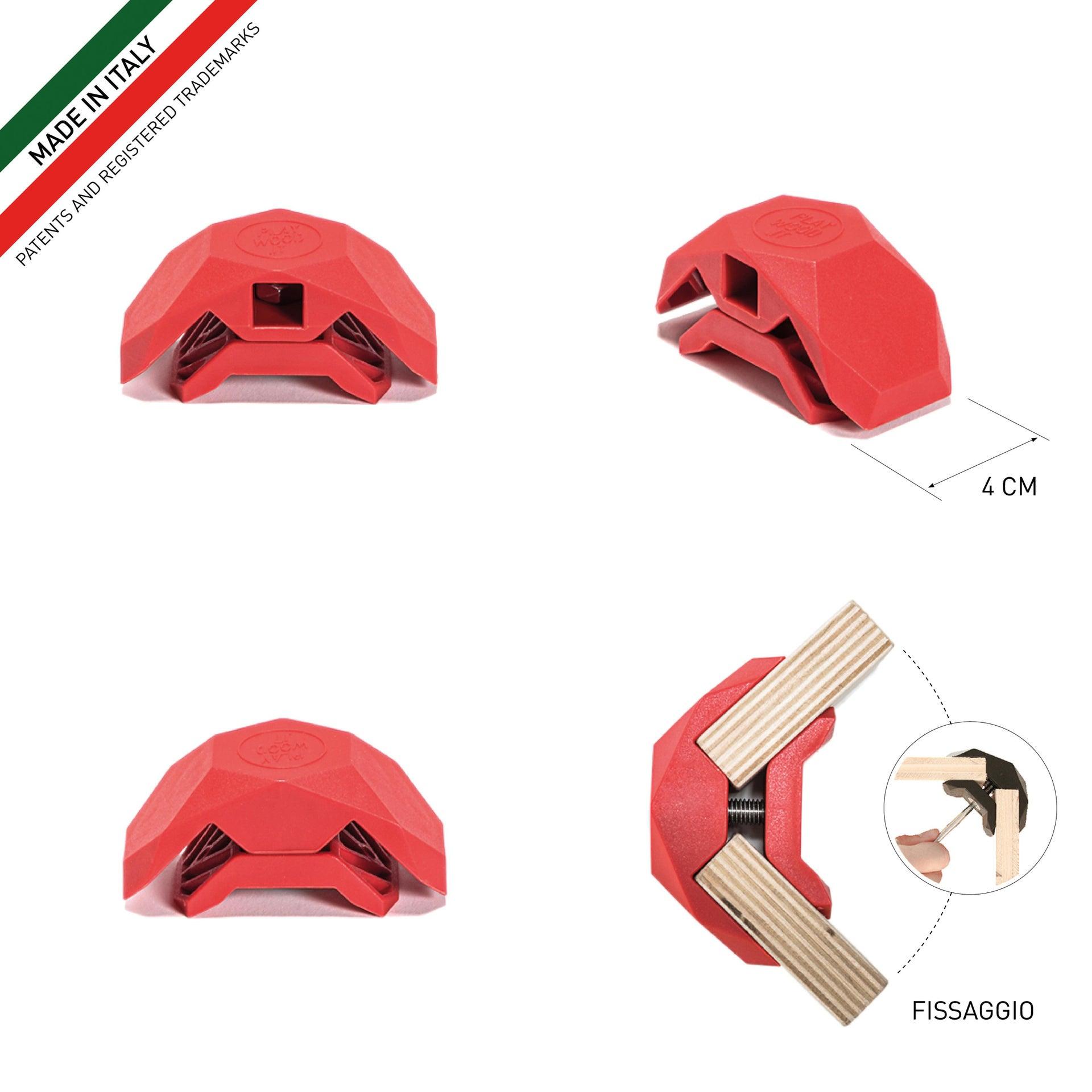Sistema di assemblaggio PLAYWOOD 90° in pvc , rosso - 3