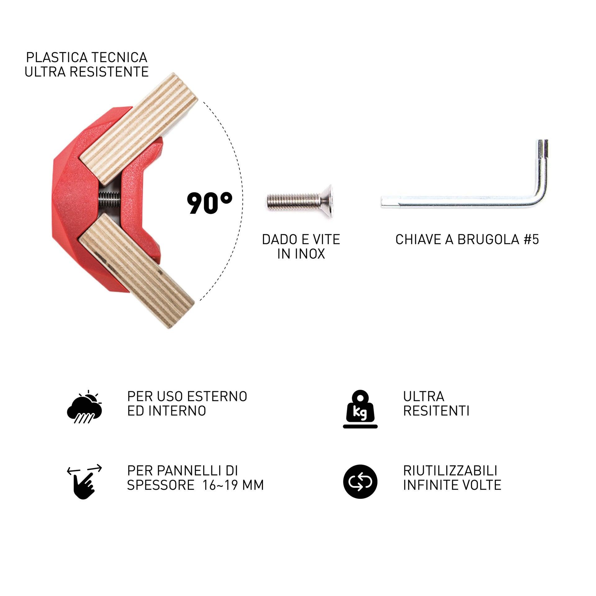 Sistema di assemblaggio PLAYWOOD 90° in pvc , rosso - 6