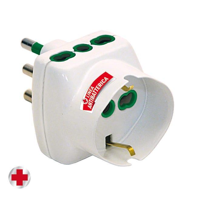 Adattatore FANTON antibatterico salvaspazio+2 pr10/16A+ Universale 16 A bianco - 1