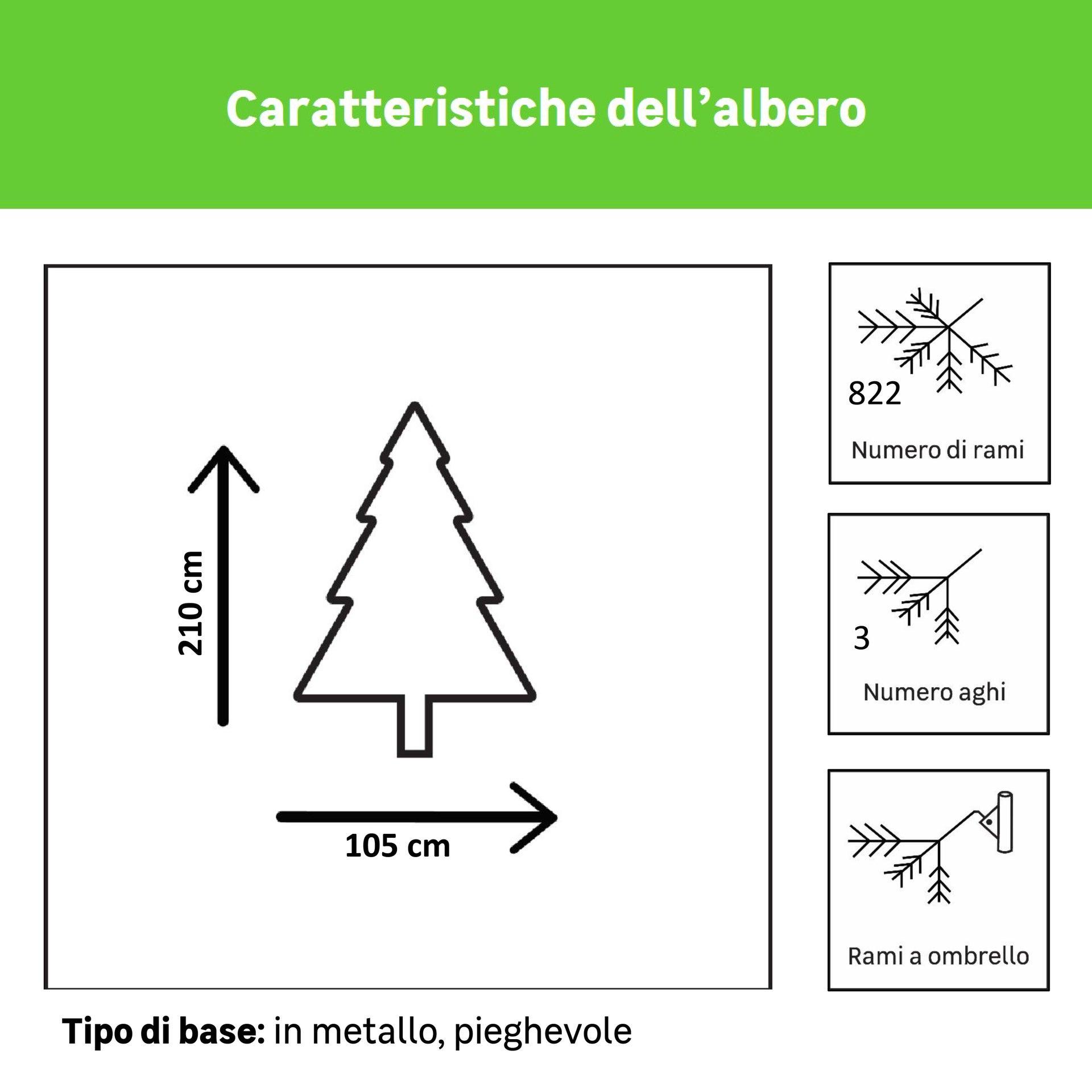 Albero di natale artificiale verde H 210 cm, - 2