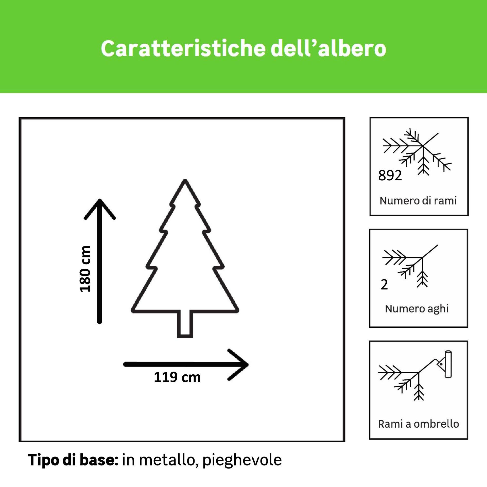 Albero di natale artificiale Mesa verde scuro H 180 cm, 350 lampadine incorporate - 5