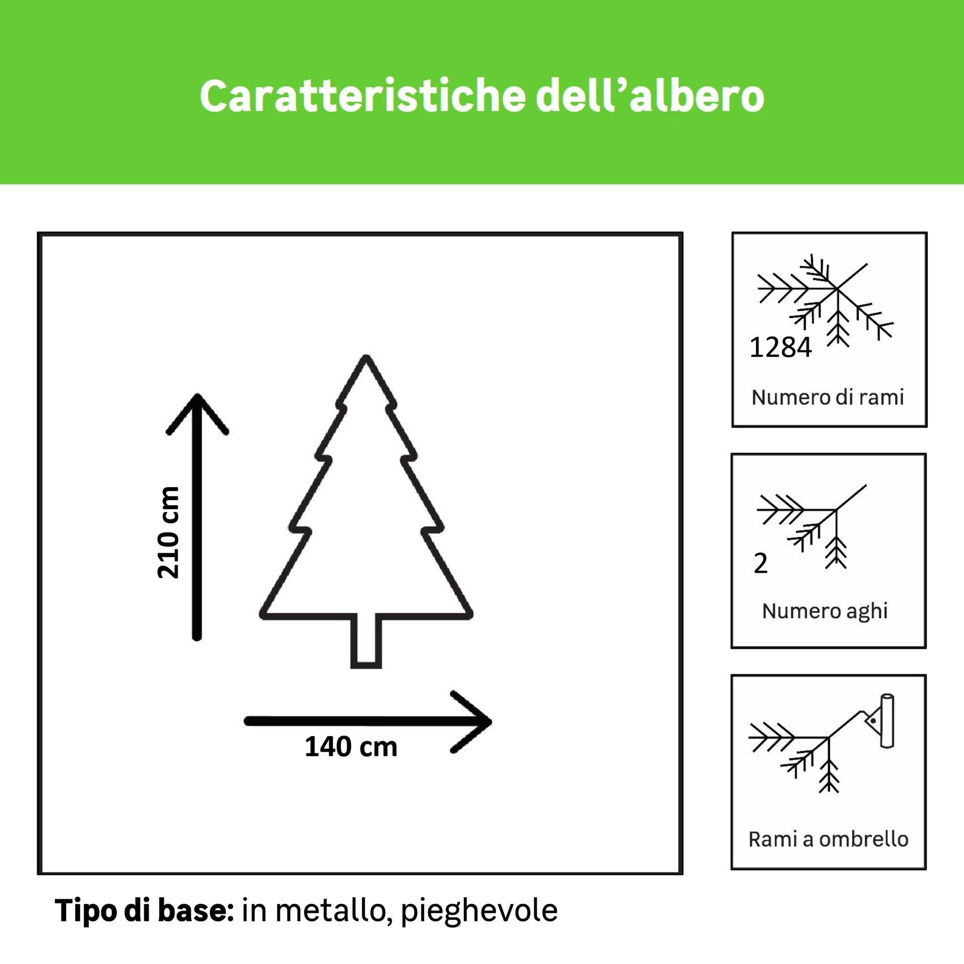 Albero di natale artificiale Mesa verde scuro H 210 cm, 450 lampadine incorporate - 6