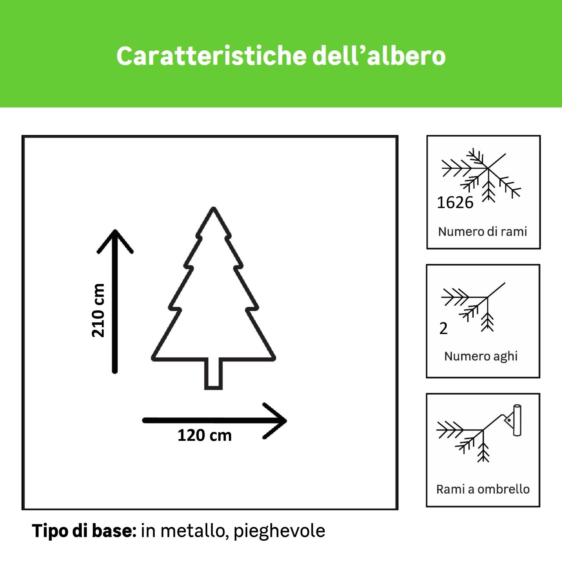 Albero di natale artificiale Orlando verde H 210 cm, - 3