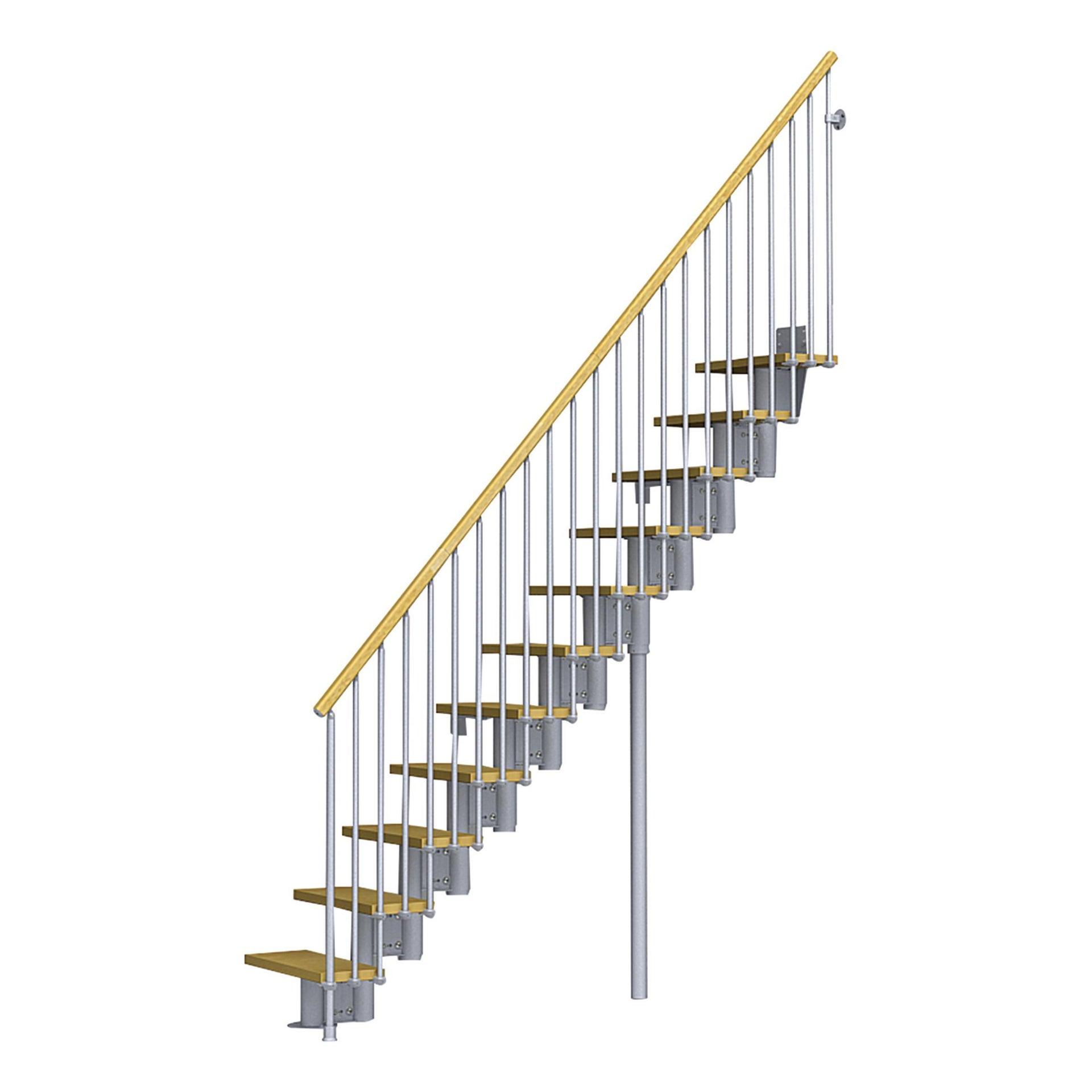 Scala a rampa dritto Mercalli FONTANOT L 64 cm, gradino chiaro, struttura grigio - 1