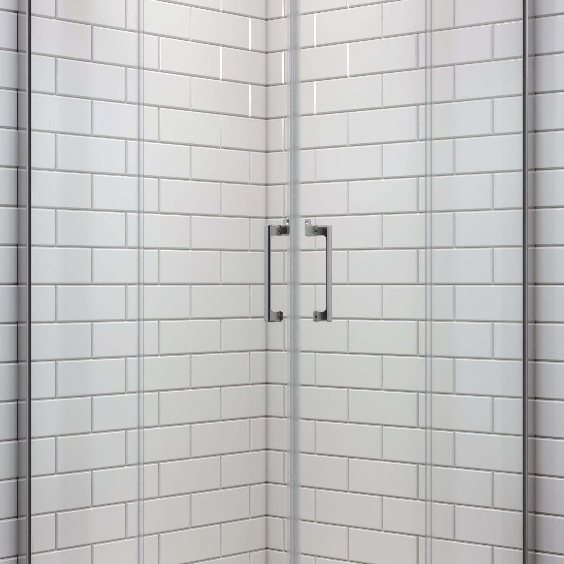Box doccia rettangolare scorrevole Remix 80 x 120 cm, H 195 cm in vetro temprato, spessore 6 mm trasparente cromato - 9