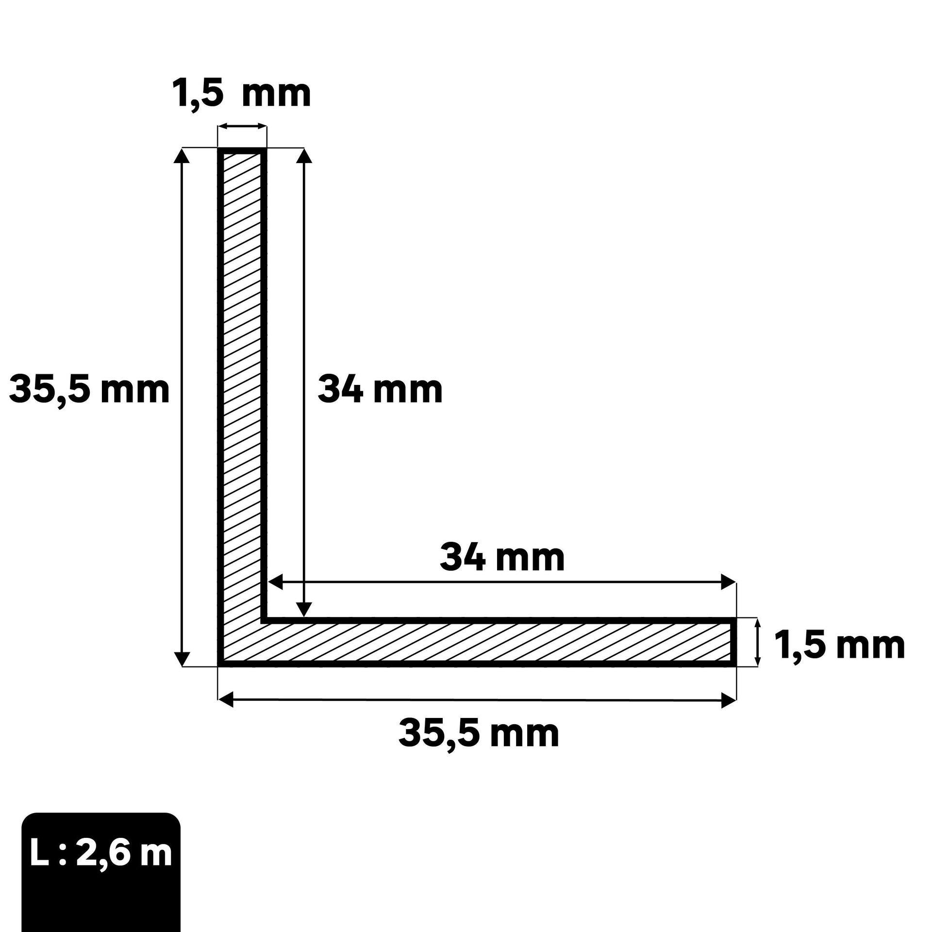 Profilo angolare simmetrico STANDERS in acciaio 2.6 m x 3.55 cm nero - 3