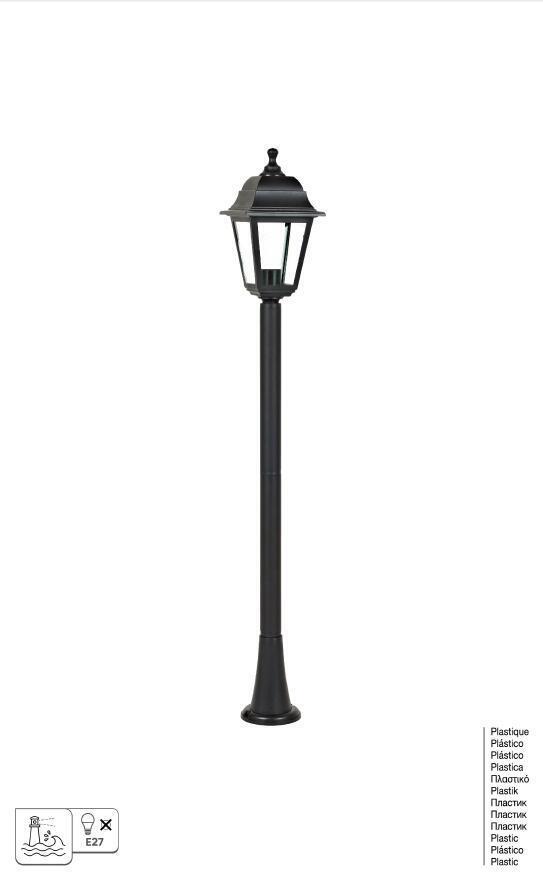 Lampione senza fonte luminosa Sima H15.4 cm in plastica, nero, E27 1x MAX 60W IP44 - 6