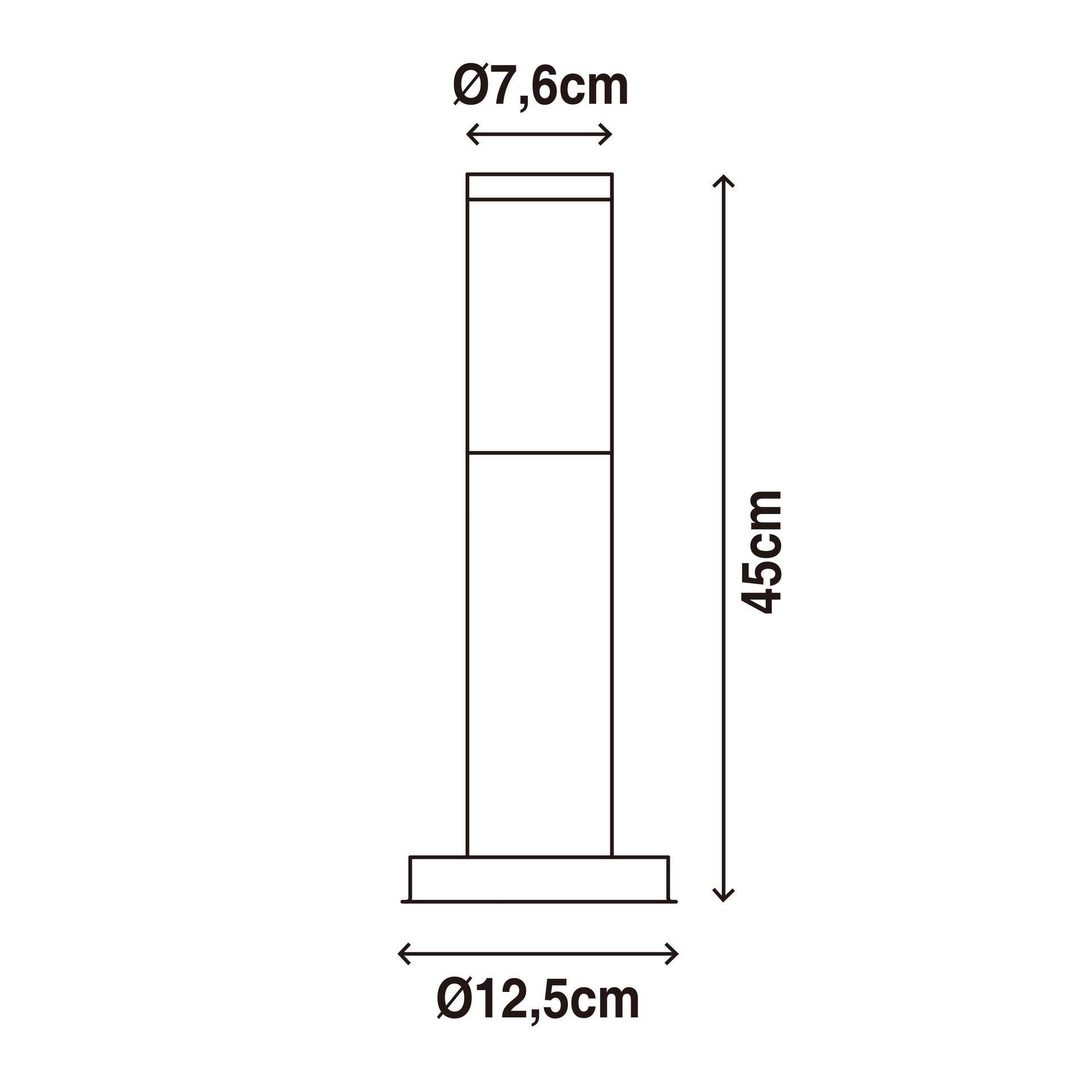 Lampione Travis H45.0 cm in acciaio inossidabile, nero, E27 1x MAX 15W IP44 INSPIRE - 7