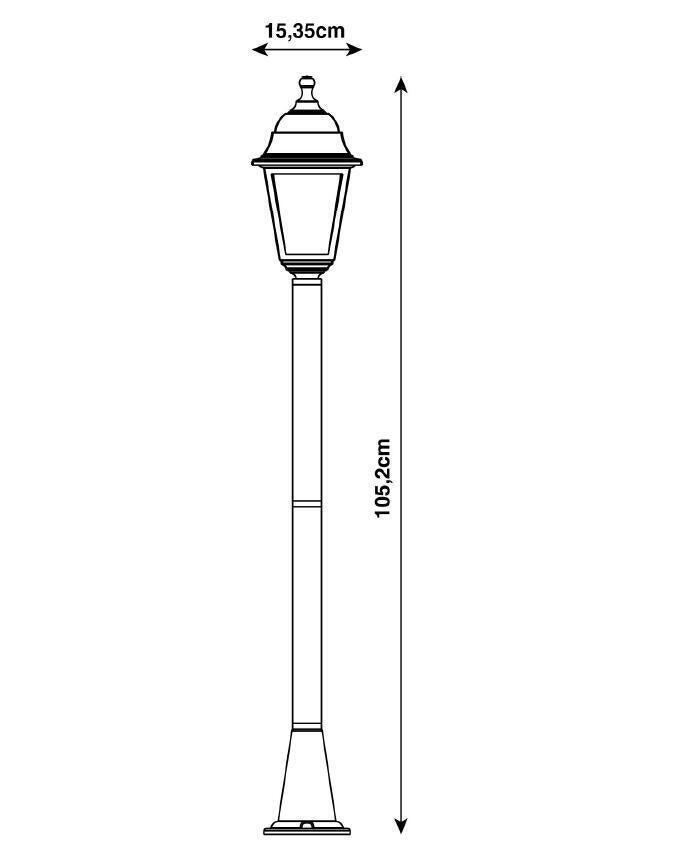Lampione senza fonte luminosa Sima H15.4 cm in plastica, nero, E27 1x MAX 60W IP44 - 5