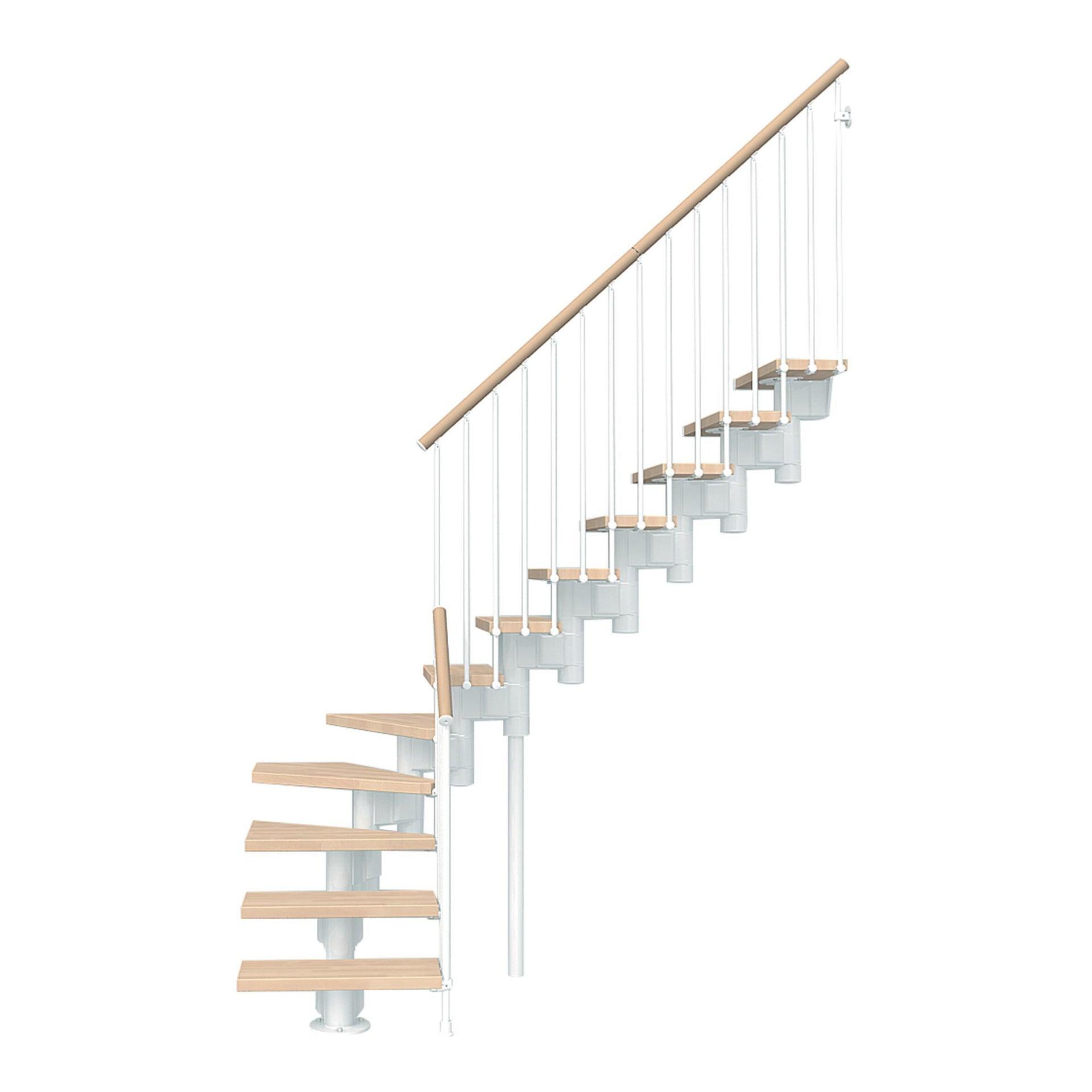 Scala a rampa 1/4 di giro Long FONTANOT L 65 cm, gradino faggio naturale, struttura bianco - 2
