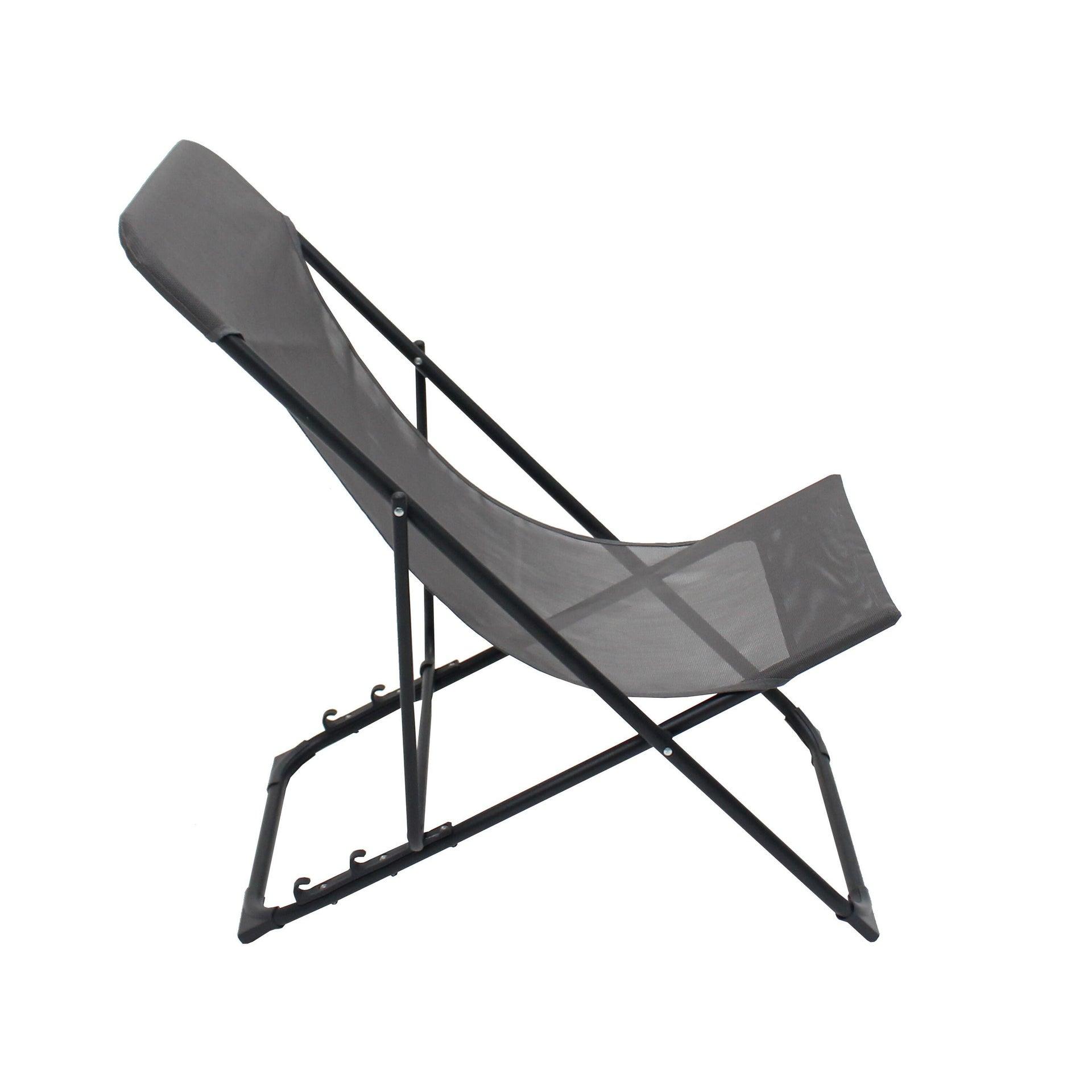Sedia da giardino senza cuscino pieghevole in acciaio Biganos colore antracite - 1