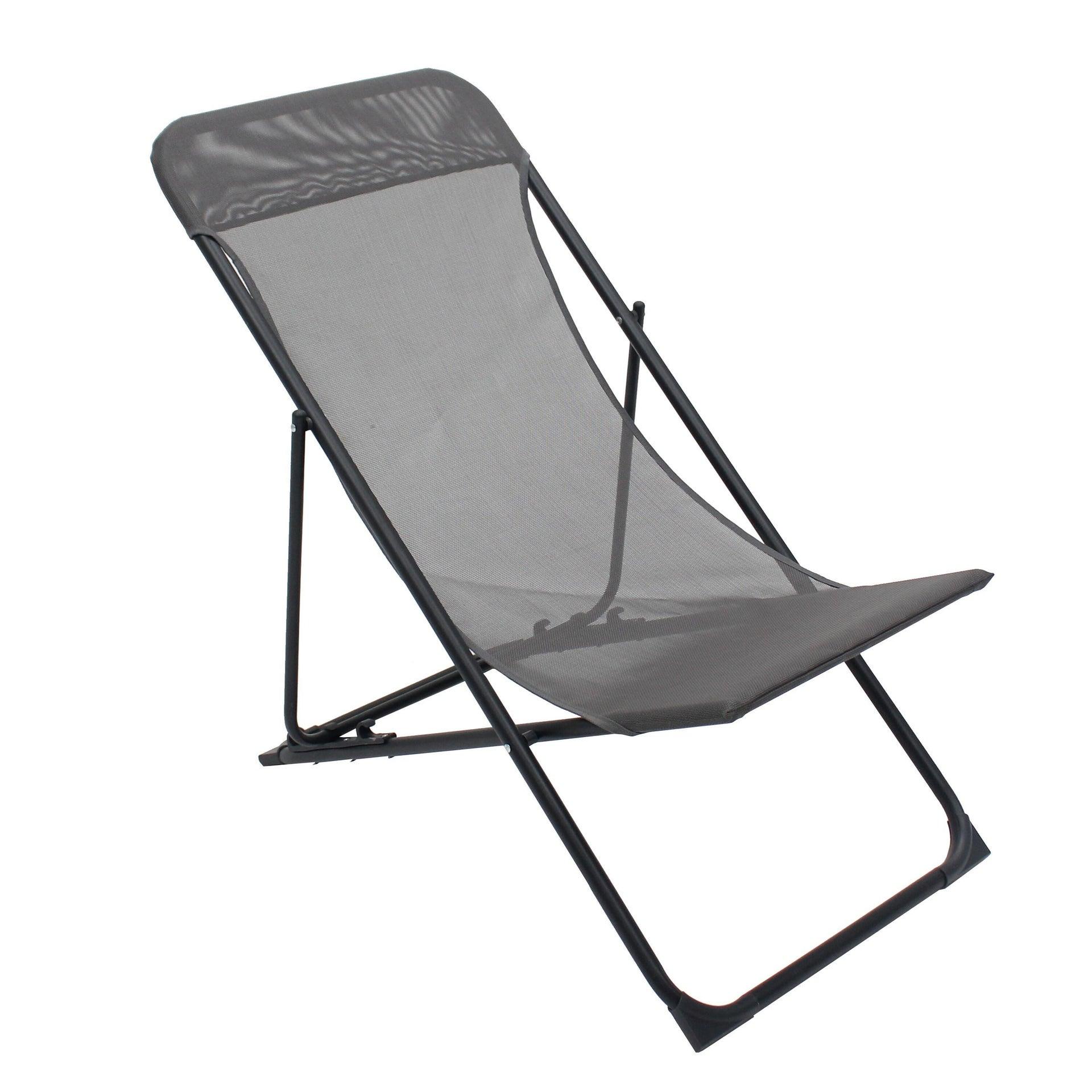 Sedia da giardino senza cuscino pieghevole in acciaio Biganos colore antracite - 9