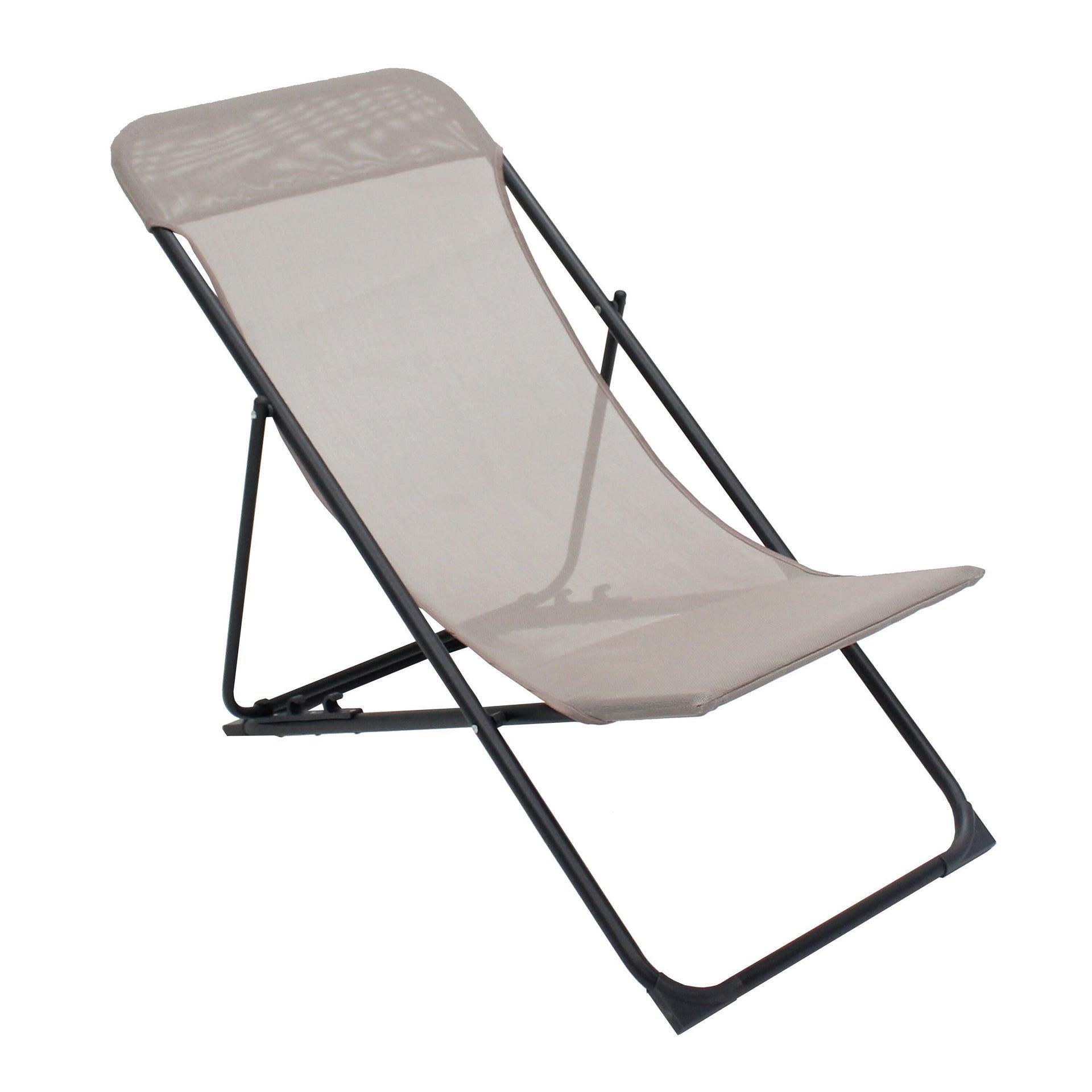 Sedia da giardino senza cuscino pieghevole in acciaio Biganos colore antracite/tortora - 1