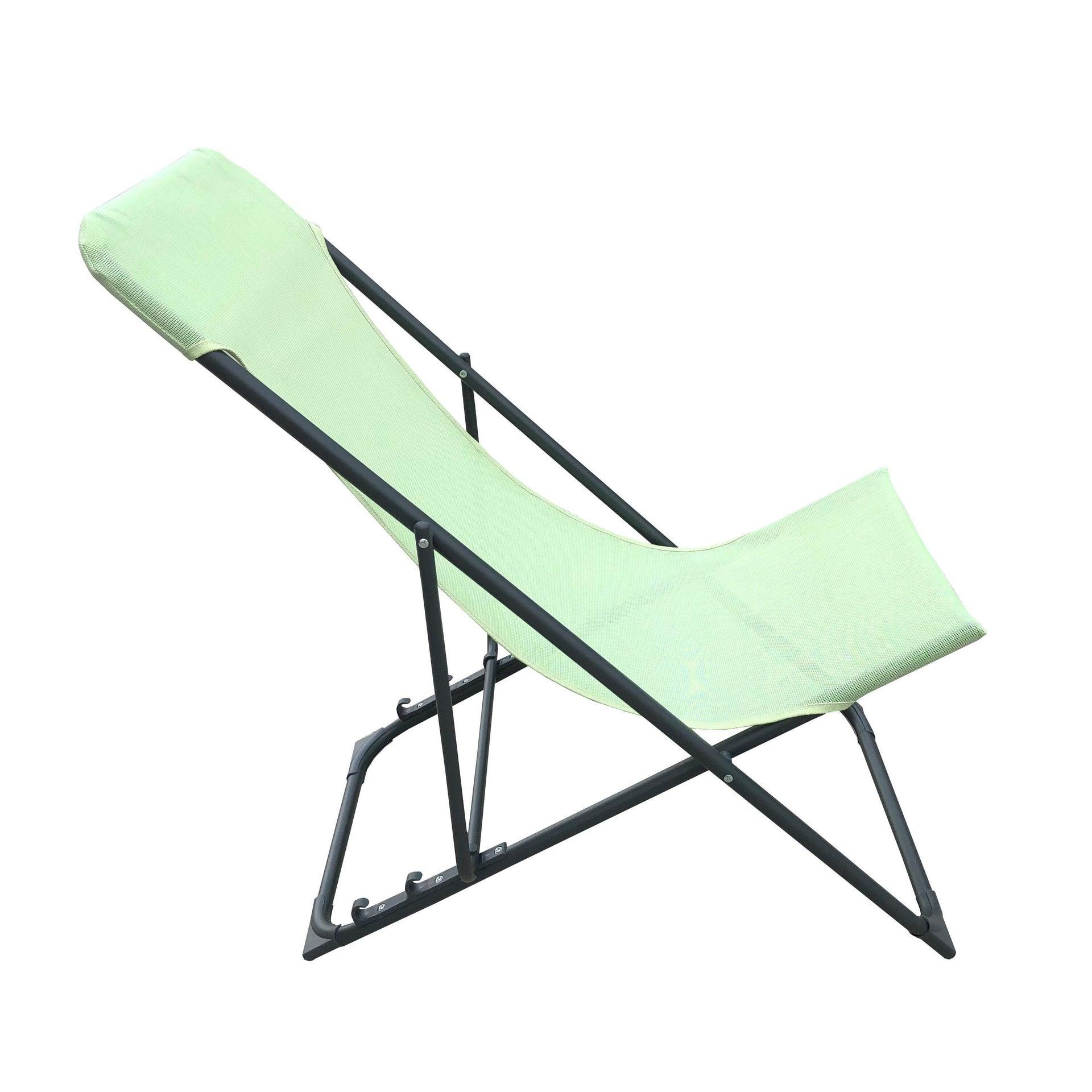 Sedia da giardino senza cuscino pieghevole in acciaio Biganos colore verde - 2