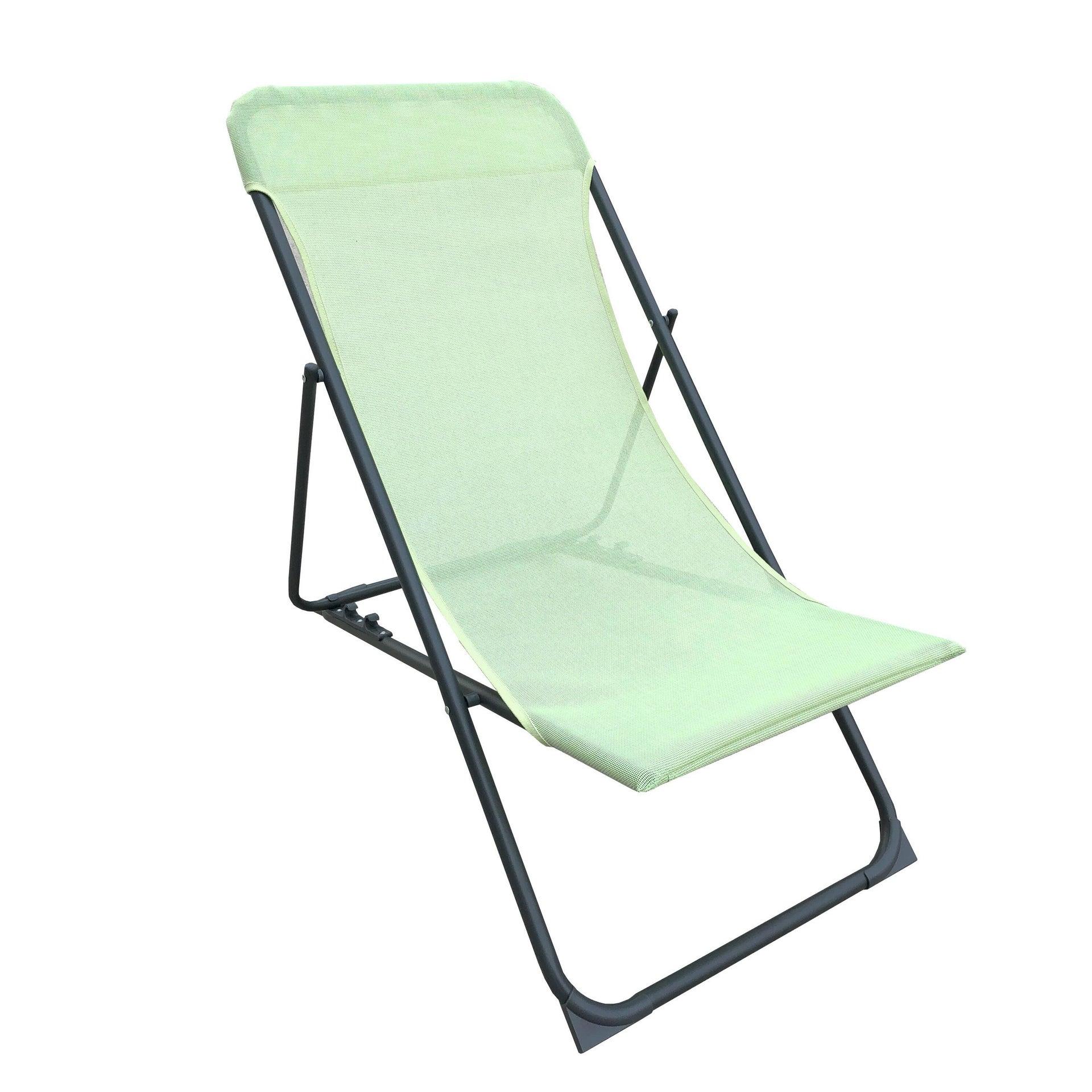 Sedia da giardino senza cuscino pieghevole in acciaio Biganos colore verde - 1