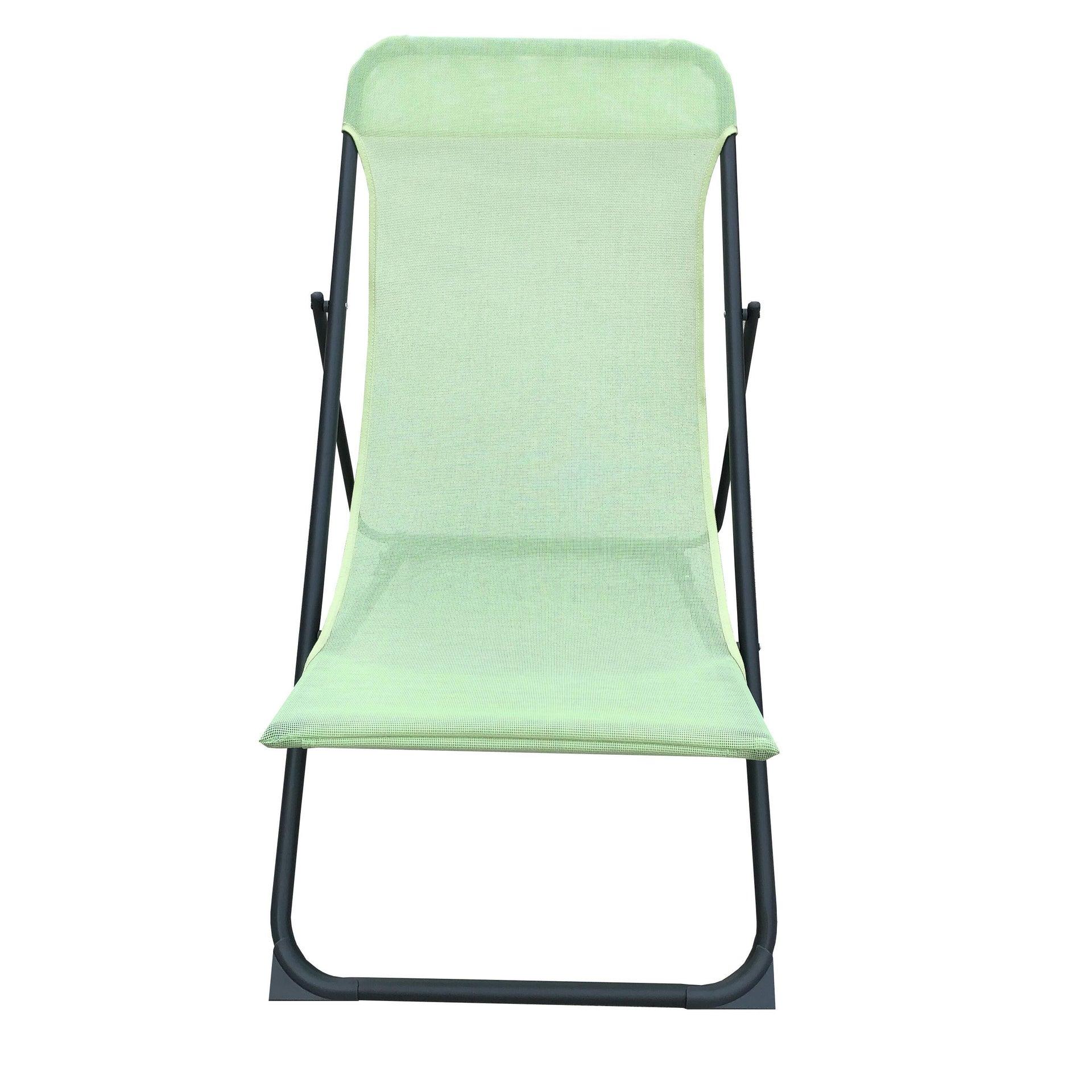 Sedia da giardino senza cuscino pieghevole in acciaio Biganos colore verde - 4