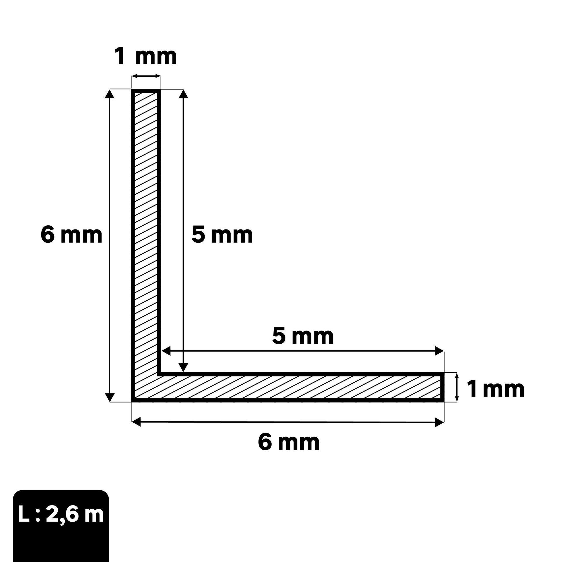 Profilo angolare simmetrico STANDERS in alluminio 2.6 m x 0.6 cm grigio - 2
