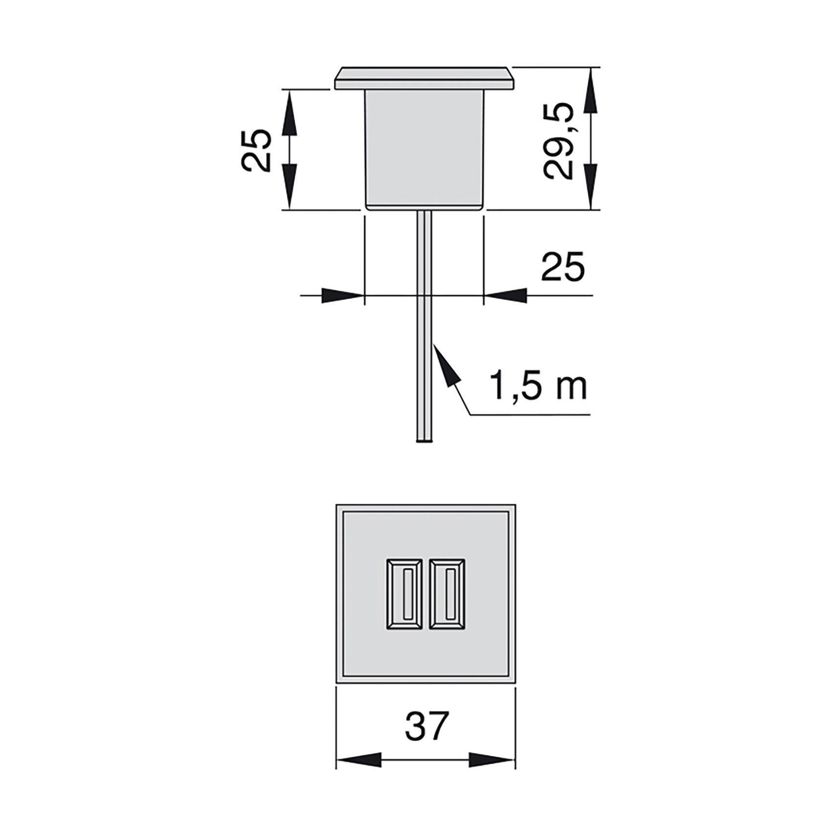 Presa elettrica con usbx2 2.1 A nero - 2