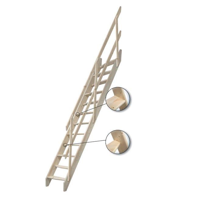 Scala a rampa dritto Oslo L 58 cm, gradino grezzo, struttura pino grezzo - 1