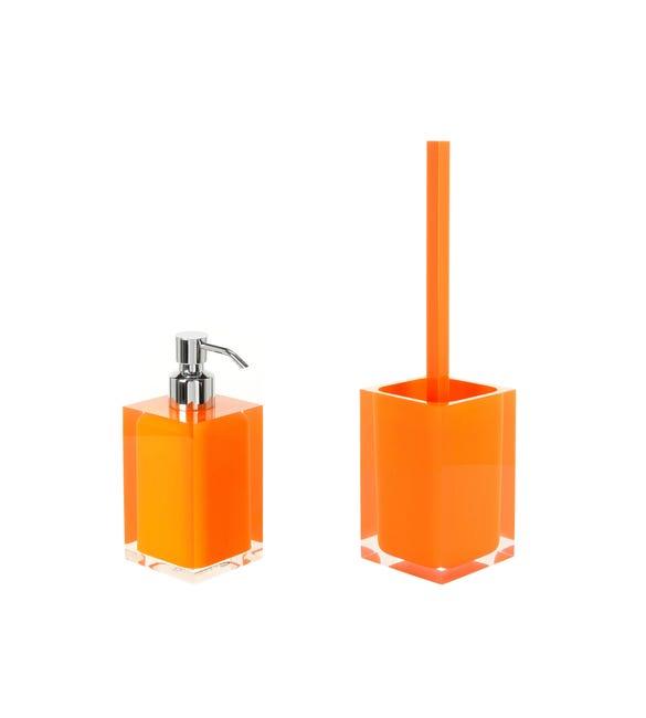 Set di accessori per bagno arancio in resina - 1