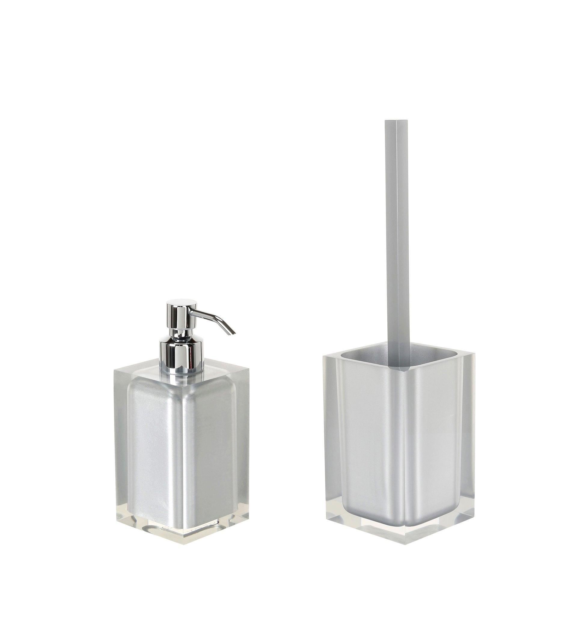 Set di accessori per bagno argento in resina