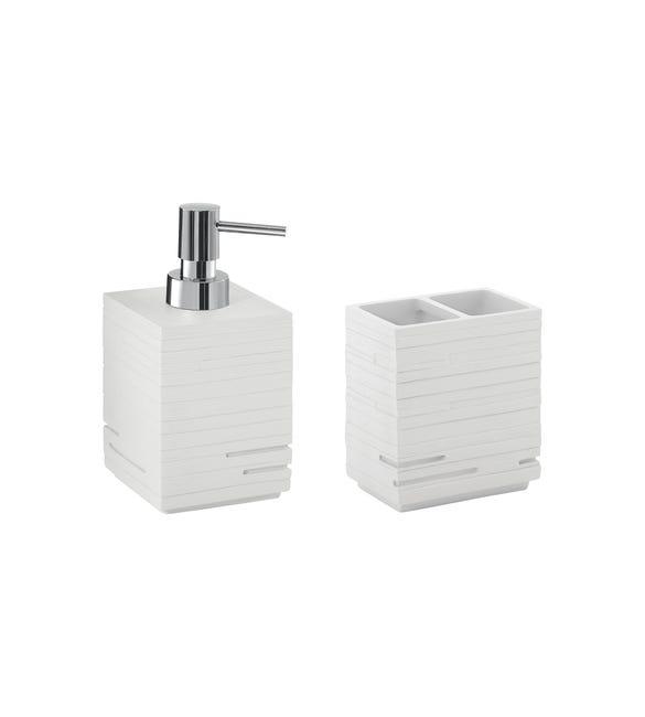 Set di accessori per bagno bianco in resina - 1