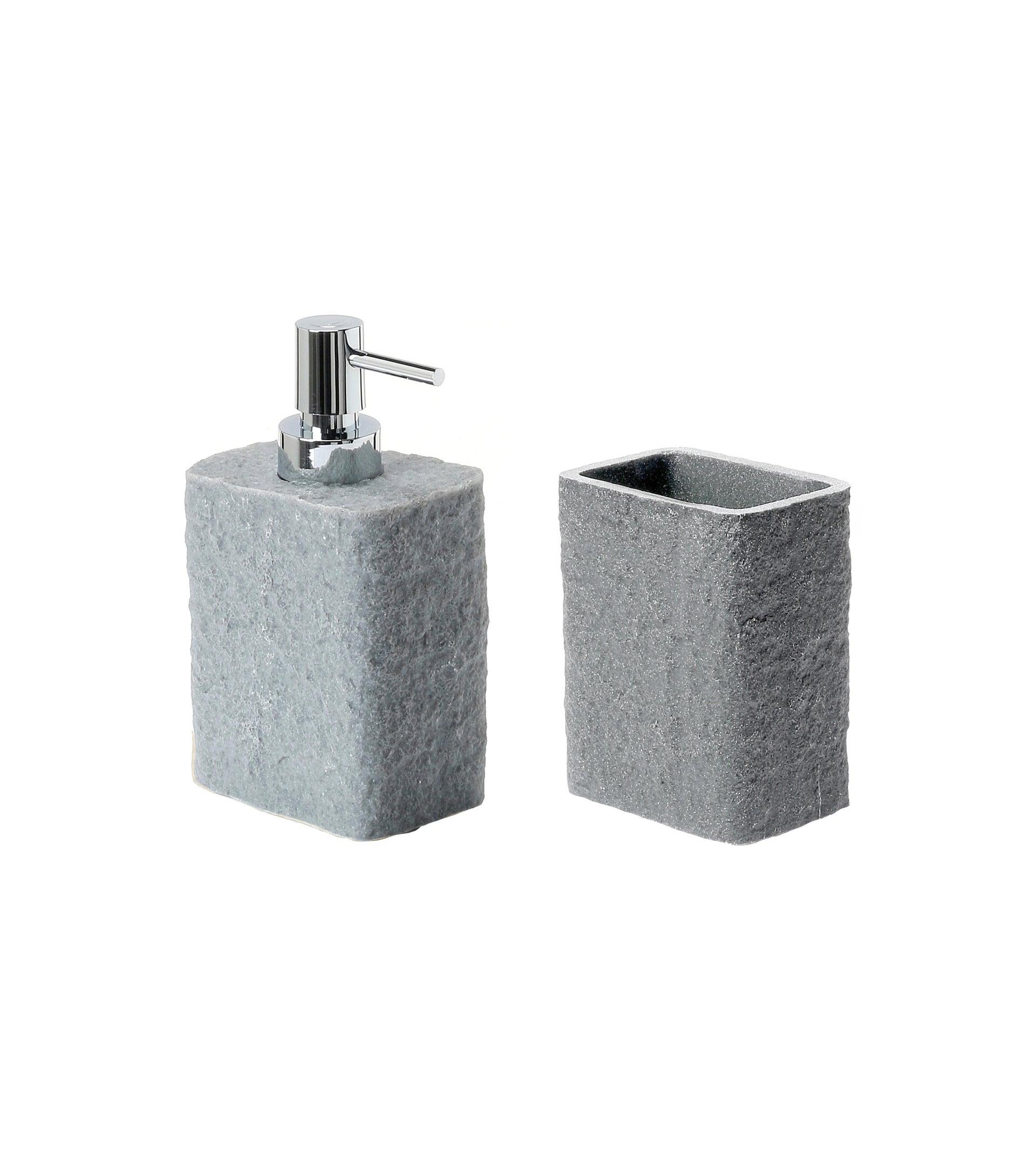 Set di accessori per bagno grigio in resina