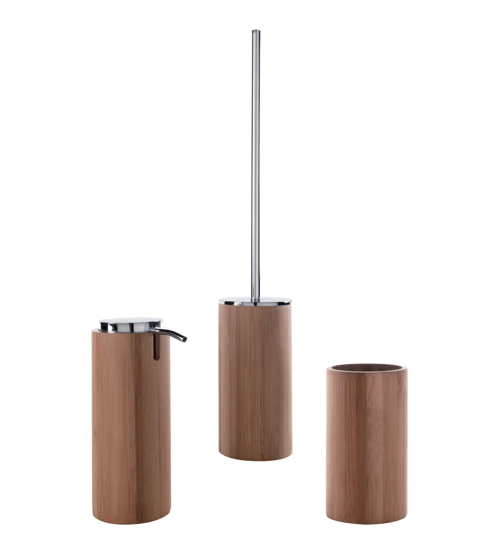 Set di accessori per bagno legno in bambù